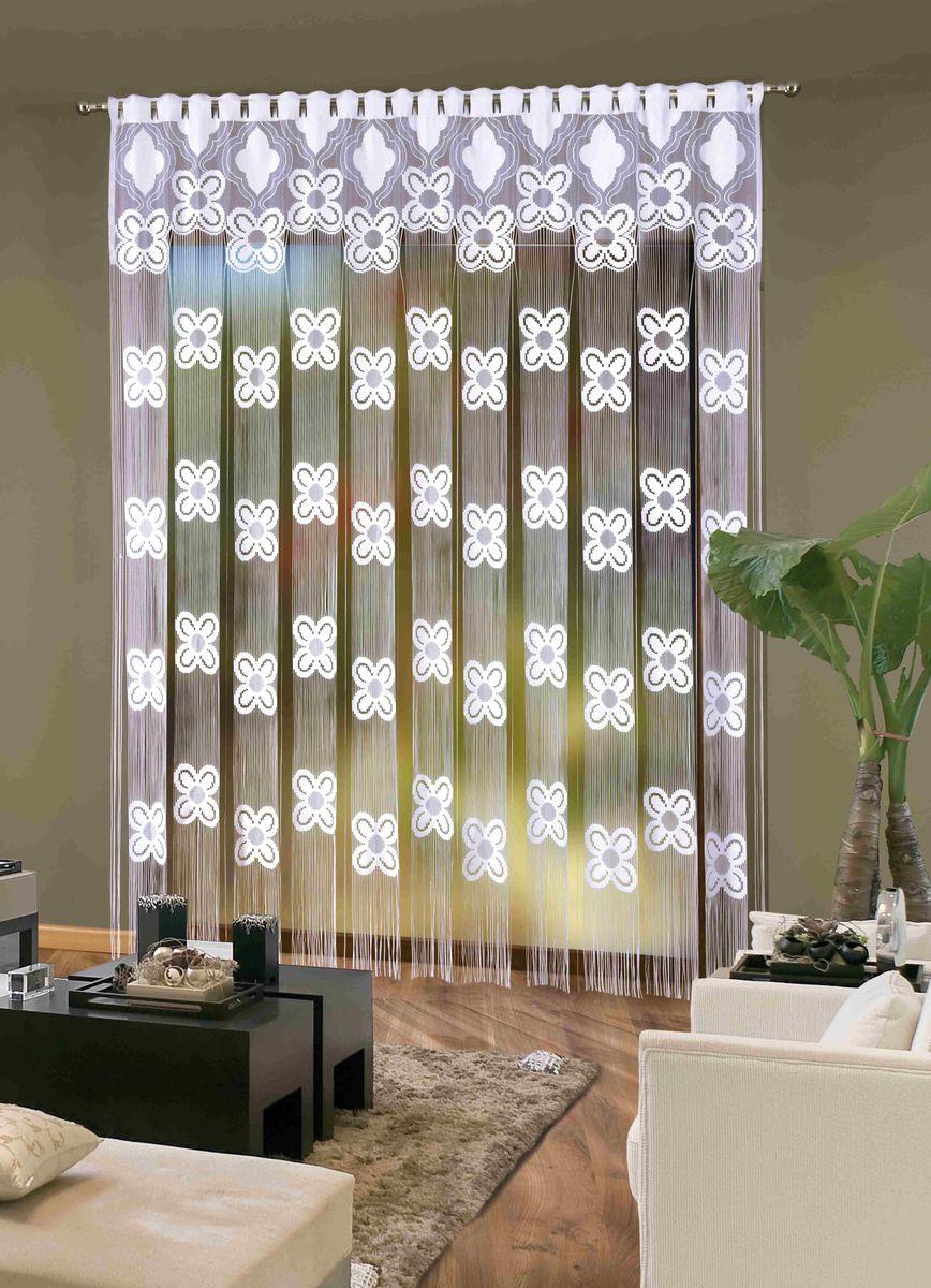 Гардина Wisan Estia, на петлях, цвет: белый, высота 250 см, ширина 225см540АГардина Wisan Estia изготовлена из белого полиэстера, легкой, тонкой ткани. Изделие выполнено из бахромы и украшено вставками из цветов. Тонкое плетение и оригинальный дизайн привлекут к себе внимание и органично впишутся в интерьер комнаты. Оригинальное оформление гардины внесет разнообразие и подарит заряд положительного настроения.Гардина оснащена петлями для круглого карниза.