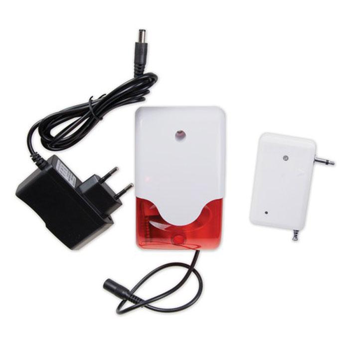 Sapsan SR-02 беспроводная сирена свето-звуковаяSR-02Sapsan SR-02 состоит из передатчика сигнала тревоги (который присоединяется в отдельное дополнительное гнездо, припаянное к выходу штатной проводной сирены), и самой свето-звуковой сирены со встроенным приемником радиосигнала от передатчика, которая питается от блока питания 12 VDC (входит в комплект).В случае проникновения на объект, система Sapsan передает команду по радиоканалу на включение беспроводной свето-звуковой сирены, которая моргает красной строб-лампой и звенит с мощностью в 110 дБ/м.