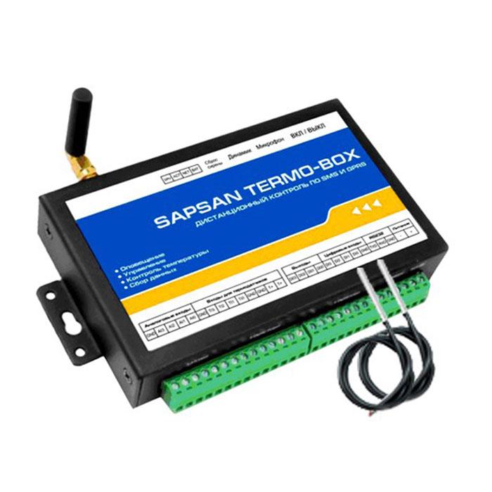 Sapsan Termo-Box GSM-сигнализацияTERMO-BOX 2ТДИнтеллектуальная система охраны с функцией контроля температуры Sapsan Termo-Box предназначена длядистанционного контроля и охраны объектов недвижимости (домов, офисов, складов).4 цифровых входа (проводные зоны) позволяют подключать до 40 проводных датчиков на каждую. При этомкаждая зона позволяет настроить тип сработки датчиков подключаемых к ней НЗ/НО. Сработки проводныхдатчиков передаются на заранее записанные в память устройства номера абонентов (10 номеров) в видетекстовых сообщений.4 аналоговых входа, позволяют подключать датчики для осуществления контроля влажности,температуры, токаили напряжения, а также для контроля других изменяющихся величин. Помимо подключения датчиков работакоторых основана на изменении параметров тока либо напряжении, в аналоговым входам можно подключатьобычные проводные датчики через сопротивление.4 входа для температурных датчиков позволяют осуществлять контроль температуры в широком диапазоне (- 55...125 градусов). Наличие GSM-модема позволяет своевременно оповестить владельца о неправомерныхвторжениях на объект, понижениях температуры, влажности и других технологических характеристикпомещения.Встроенная память устройства позволяет записывать до 1000 показаний технологических датчиков сустанавливаемым интервалом показаний от 1 минуты до 24 часов. GPRS сессия связи позволяет передаватьпоказание датчиков на удаленный сервер, где они будут записываться специальной программой, длядальнейшего анализа.Система Sapsan Termo-Box позволяет управлять различными устройствами (в систему входят 4 выхода типа«открытый коллектор»), как дистанционно, так и по заранее заданной последовательности действий.Конфигурация параметров системы возможна как с помощью SMS сообщений, так и с помощью специальнойпрограммы настройщика, установленной на Вашем персональном компьютере. Все сообщения от системы, атакже программа-настройщик полностью на русском языке. Все настройки системы через SMS сообщения, атакже через 