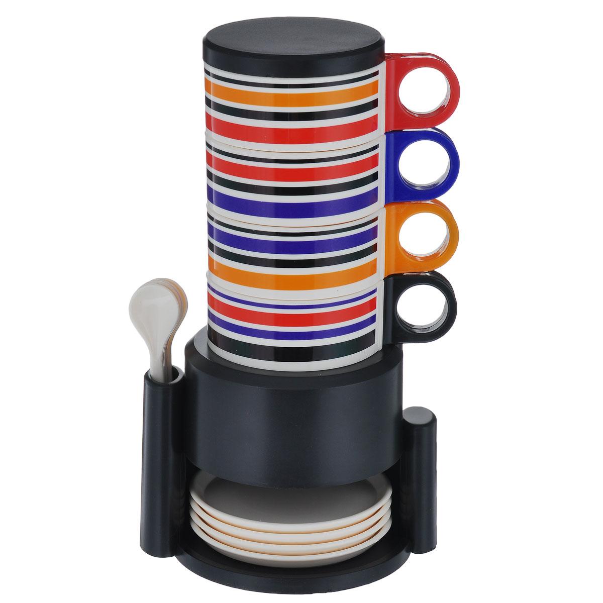 """Вечерами приятно посидеть с чашечкой чая или кофе в компании друзей. Набор посуды Bradex """"Чаепитие"""" подойдет для тесной компании из четырех человек. Чашки вместе с блюдцами и очаровательными ложечками удобно хранить в специальной подставке, которая не занимает много места на кухне.     Состав набора: 4 чашки, 4 блюдца, 4 ложки, крышка, подставка. Высота кружек: 8,5 см.  Диаметр кружек по верхнему краю: 8,5 см.  Диаметр кружек по дну: 6,3 см.  Диаметр крышки: 8,5 см.  Длина ложек: 12,2 см.  Диаметр блюдец: 9,9 см.  Высота блюдец: 1 см.  Размер подставки: 12 см х 14,8 см х 10,5."""