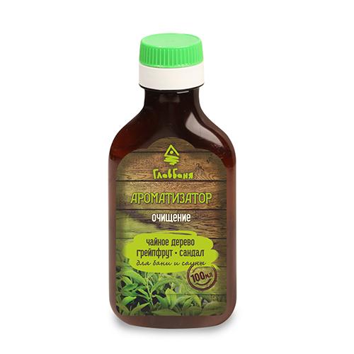 Ароматизатор для бани и сауны Очищение, 100 млБ121Ароматизатор для бани и сауны Очищение содержит утонченные эфирные масла чайного дерева, грейпфрута и сандала. Эти эфирные масла улучшают кровообращение, нормализуют сердечный ритм, улучшают пищеварение, способствует снижению веса. Чайное дерево стимулирует вывод токсинов, грейпфрут создает хорошее настроение, сандал омолаживает кожу. Для этого необходимо 5-10 мл ароматизатора добавить в 1 литр воды, полить стены, полки в бане и сауне, поддать на камни. Он может стать великолепным подарком и прекрасным дополнением банного интерьера.