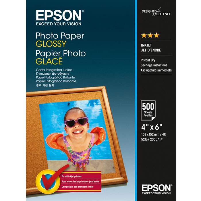 Epson Photo Paper Glossy 10x15 (C13S042549) глянцевая фотобумага, 500 листовC13S042549Плотная глянцевая фотобумага Epson Photo Paper Glossy с полимерным покрытием, предназначенная для ежедневной печативысококачественных фотографий в домашних условиях. Качество цветопередачи соответствует лучшимобразцам фотобумаги Epson. Имеет высокую водо- и светостойкость, стойкость к истиранию и действиюкислорода. Обладает улучшенными характеристиками подачи в печатающее устройство. ПрозрачностьЯркость: 0.92Ламинация
