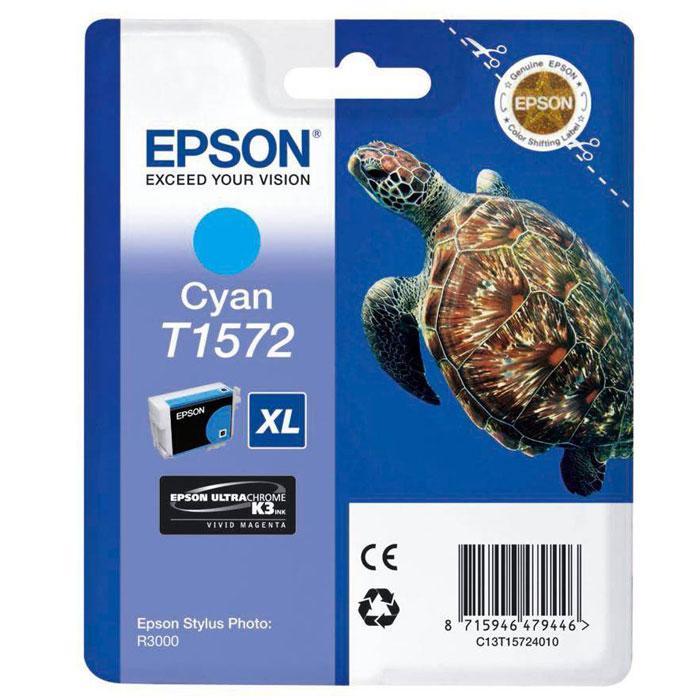 Epson T1572 XL (C13T15724010), Cyan картридж для Stylus Photo R3000C13T15724010Картридж с чернилами Epson T157 XLдля струйных принтеров.