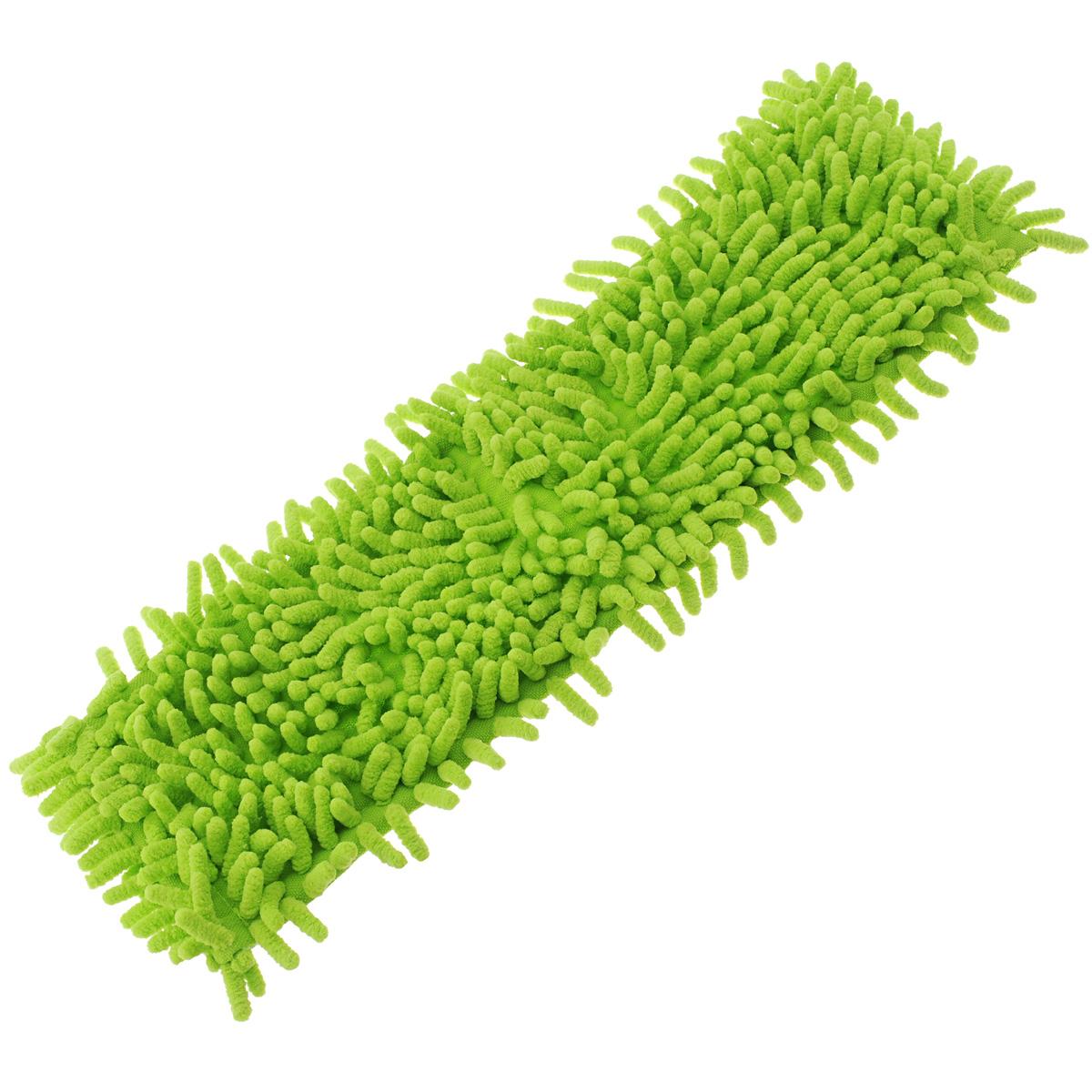 Насадка для швабры Home Queen Еврокласс, цвет: салатовый, длина 40 см,57220Сменная насадка для швабры Home Queen Еврокласс изготовлена из шенилла, разновидности микрофибры. Материал обладает высокой износостойкостью, не царапает поверхности и отлично впитывает влагу. Насадка отлично удаляет большинство жирных и маслянистых загрязнений без использования химических веществ. Насадка идеально подходит для мытья всех типов напольных покрытий. Она не оставляет разводов и ворсинок. Сменная насадка для швабры Home Queen Еврокласс станет незаменимой в хозяйстве. Размер насадки: 40 х 12 см.