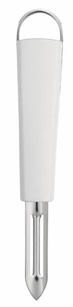 Нож для чистки Brabantia Essential, цвет: белый. 400308400308Идеальный нож для малоотходной чистки моркови, картофеля, яблок и т.п. Двустороннее лезвие из нержавеющей стали со специальным кончиком для вырезания глазков. Может использоваться левой или правой рукой. Ручка из прочного пластика с петелькой для подвешивания из нержавеющей стали. Подходит для мытья в посудомоечной машине. Имеется сочетающийся по стилю настенный держатель (рейлинг). Продается отдельно.
