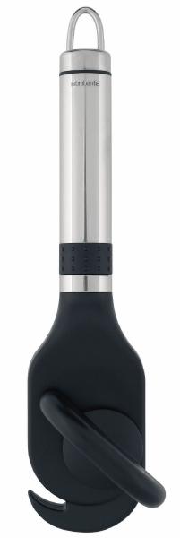 Открывалка для консервов Brabantia универсальная211201Открывалка для консервов Brabantia универсальная - открывалка, которая изготовлена из нержавеющей стали м пластика. Она понравится всем ценителям полезных вещей. Открывалка Brabantia будет незаменимым помощником в дороге и на пикнике и станет отличным подарком на любой праздник. Характеристики:Материал: нержавеющая сталь, пластик. Длина открывалки: 21 см. Размер рабочей поверхности: 5 см х 10 см. Цвет: черный, серебристый. Размер упаковки: 27 см х 9 см х 8 см. Артикул: 211201. Гарантия производителя: 5 лет.