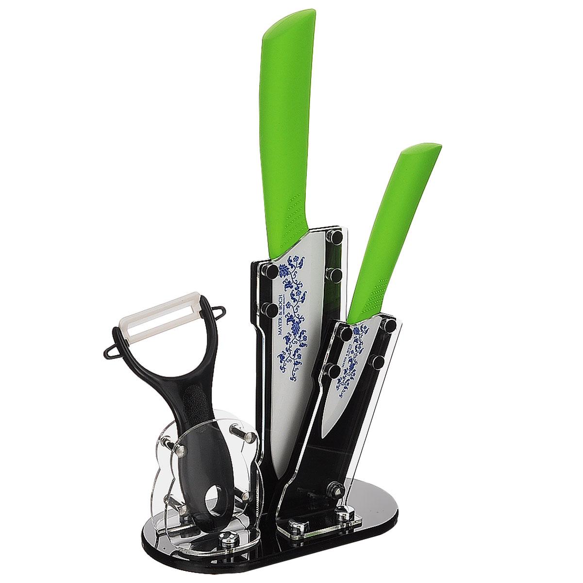 Набор керамических ножей Mayer & Boch, цвет: салатовый, синий. 4 предмета. 2185921859салатовыйНабор керамических ножей Mayer & Boch состоит из 2 ножей, ножа-пиллера и подставки. Ножи выполнены из керамики, ручки из термопластика. Удобная акриловая подставка поможет хранить все ножи в одном месте.Оригинальный набор ножей великолепно украсит интерьер кухни и станет замечательным помощником.Можно мыть в посудомоечной машине.Длина лезвия большого ножа: 15,2 см. Общая длина большого ножа: 27 см. Длина лезвия маленького ножа: 7,6 см. Общая длина маленького ножа: 18 см. Длина лезвия ножа-пиллера: 4,5 см. Размер ножа-пиллера: 13 см х 8 см х 2 см. Размер подставки: 16 см х 9 см х 18 см.