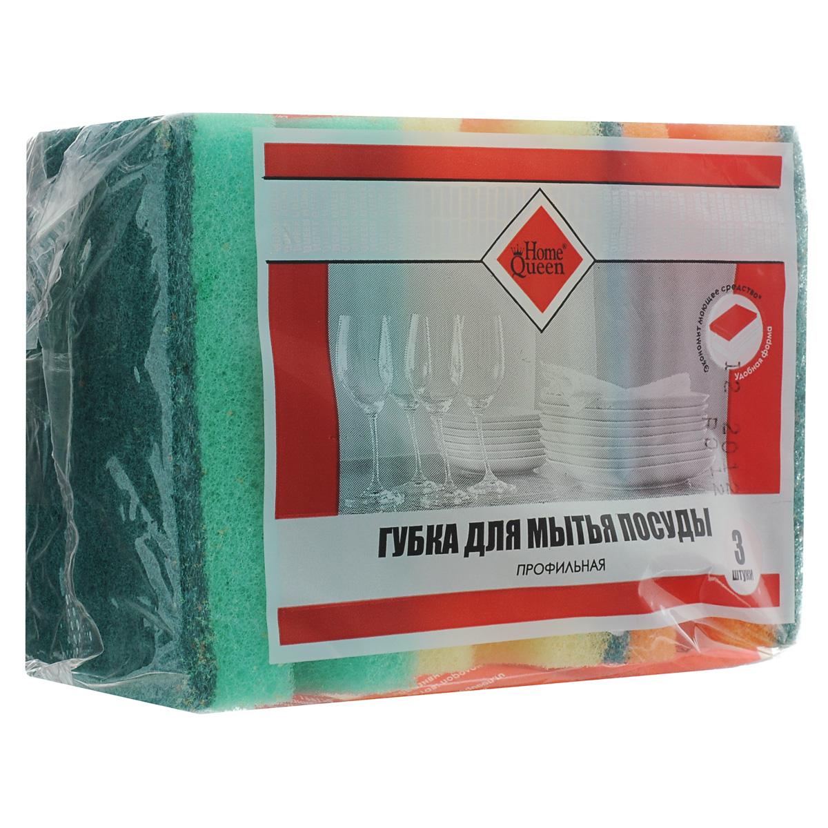 Губка для мытья посуды Home Queen, профильная, 3 шт57129Губка для мытья посуды Home Queen выполнена из особо прочного поролона и фибры с абразивом. Предназначена для мытья посуды, столовых приборов, кухонной утвари, а также подходит для чистки поверхности плит, раковин, ванн и кафеля. Удобна в применении, благодаря углублению (профилю), который позволяет дольше удерживать моющее средство внутри. Размер губки: 8,5 см х 6,5 см х 4 см. Комплектация: 3 шт. Уважаемые клиенты! Обращаем ваше внимание, что сочетание цветов в упаковке может различаться.