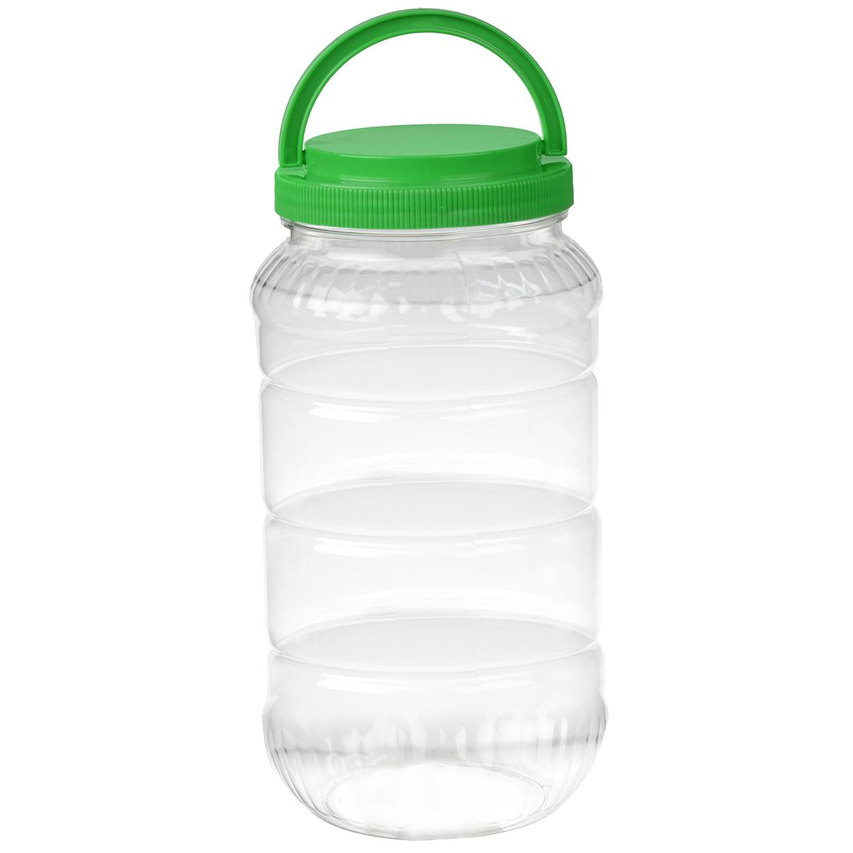 Емкость Альтернатива, с ручкой, цвет: зеленый, 3 лM957Емкость Альтернатива предназначена для хранения сыпучих продуктов или жидкостей. Выполнена из высококачественного пластика. Оснащена ручкой для удобной переноски.Диаметр: 10,5 см.Высота (без учета крышки): 25 см.