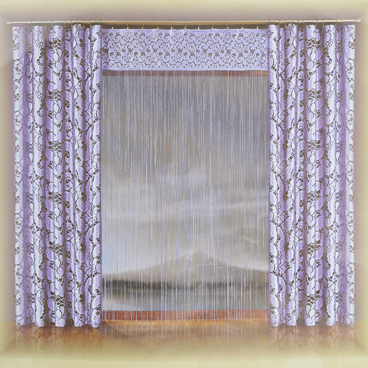Комплект штор Wisan Agata, на ленте, цвет: лиловый, высота 250 см077W лиловыйКомплект штор Wisan Agata, изготовленный из полиэстера, станет прекрасным дополнением интерьера гостиной. В комплект входят две шторы и тюль-лапша. Изящные кружевные шторы оформлены цветочным узором. Полотно штор надежно защищает комнату от солнечного света днем и от уличного освещения вечером. Тонкое плетение, оригинальный дизайн и приятная цветовая гамма привлекут к себе внимание и органично впишутся в интерьер. Все элементы комплекта оснащены универсальной шторной лентой для красивой сборки. В комплект входят:Штора - 2 шт. Размер (Ш х В): 150 см х 250 см.Тюль - 1 шт. Размер (Ш х В): 170 см х 250 см.