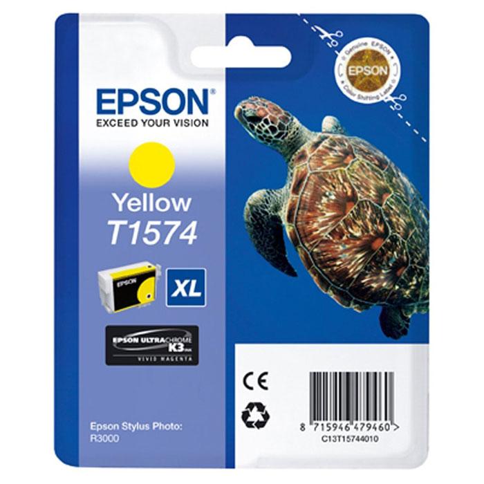 Epson T1574 XL (C13T15744010), Yellow картридж для Stylus Photo R3000C13T15744010Картридж с чернилами Epson T157 XLдля струйных принтеров.