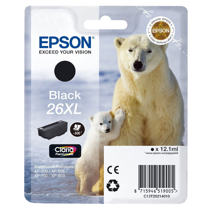 Epson T2621 26XL (C13T26214012), Black картридж для XP600/7/8 картридж epson t009402 для epson st photo 900 1270 1290 color 2 pack