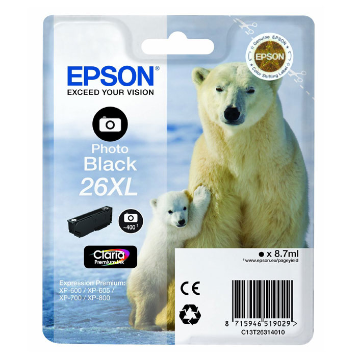 Epson T2631 26XL (C13T26314012), Photo Black картридж для XP600/7/8C13T26314012Картридж с чернилами Epson T2631 26XL повышенной емкости для фотопечати.Уважаемые клиенты!Обращаем ваше внимание на возможные изменения в дизайне упаковки. Качественные характеристики товара остаются неизменными. Поставка осуществляется в зависимости от наличия на складе.