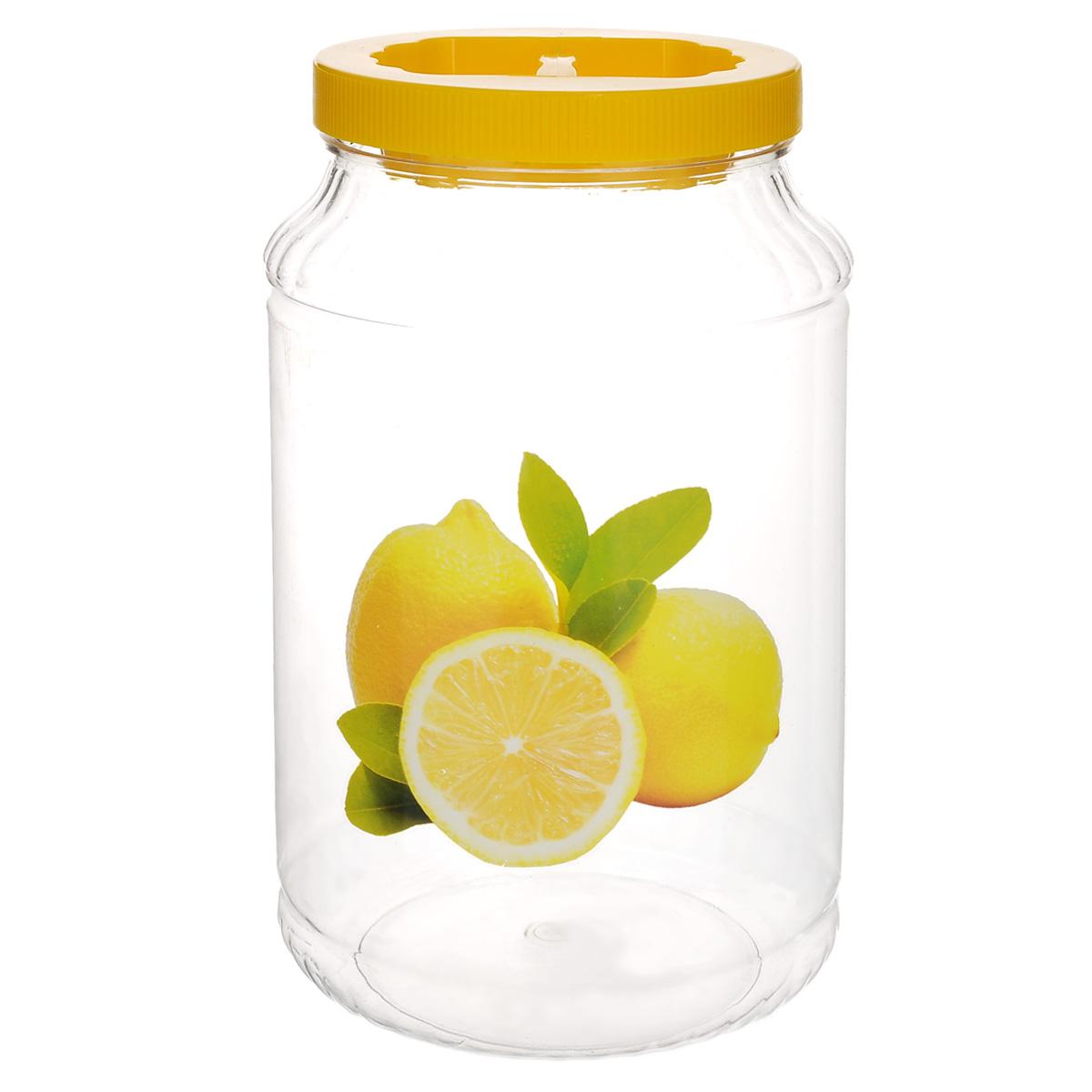 Емкость Альтернатива Лимон, цвет: желтый, 3 лМ1952Емкость Альтернатива Лимон предназначена для хранения сыпучих продуктов или жидкостей. Выполнена из высококачественного пластика. Оснащена ручкой для удобной переноски.