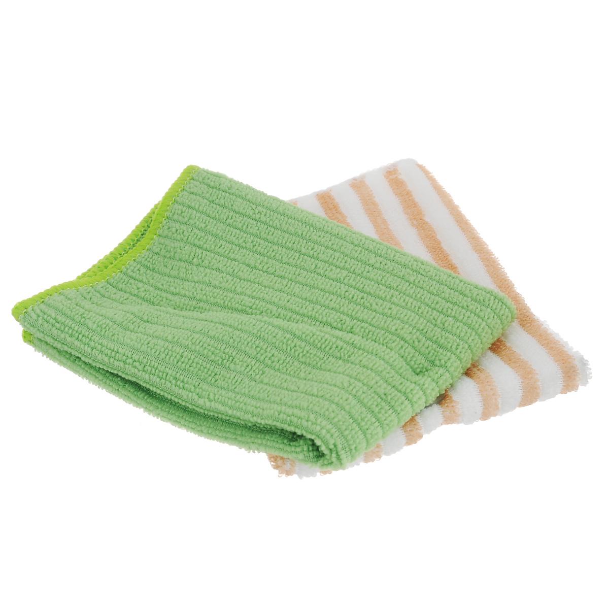 Салфетка из микрофибры Home Queen, цвет: зеленый, белый, 30 х 30 см, 2 шт салфетка sonax для салона и стекла цвет зеленый 2 шт