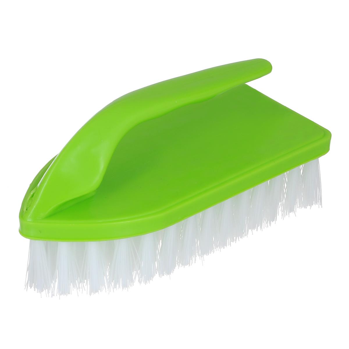 Щетка Home Queen Утюг, универсальная, цвет: салатовый. 8383Щетка Home Queen Утюг, выполненная из полипропилена и нейлона, является универсальной щеткой для очистки поверхностей ванной комнаты и кухни. Оснащена удобной ручкой.Длина ворсинок: 3 см.