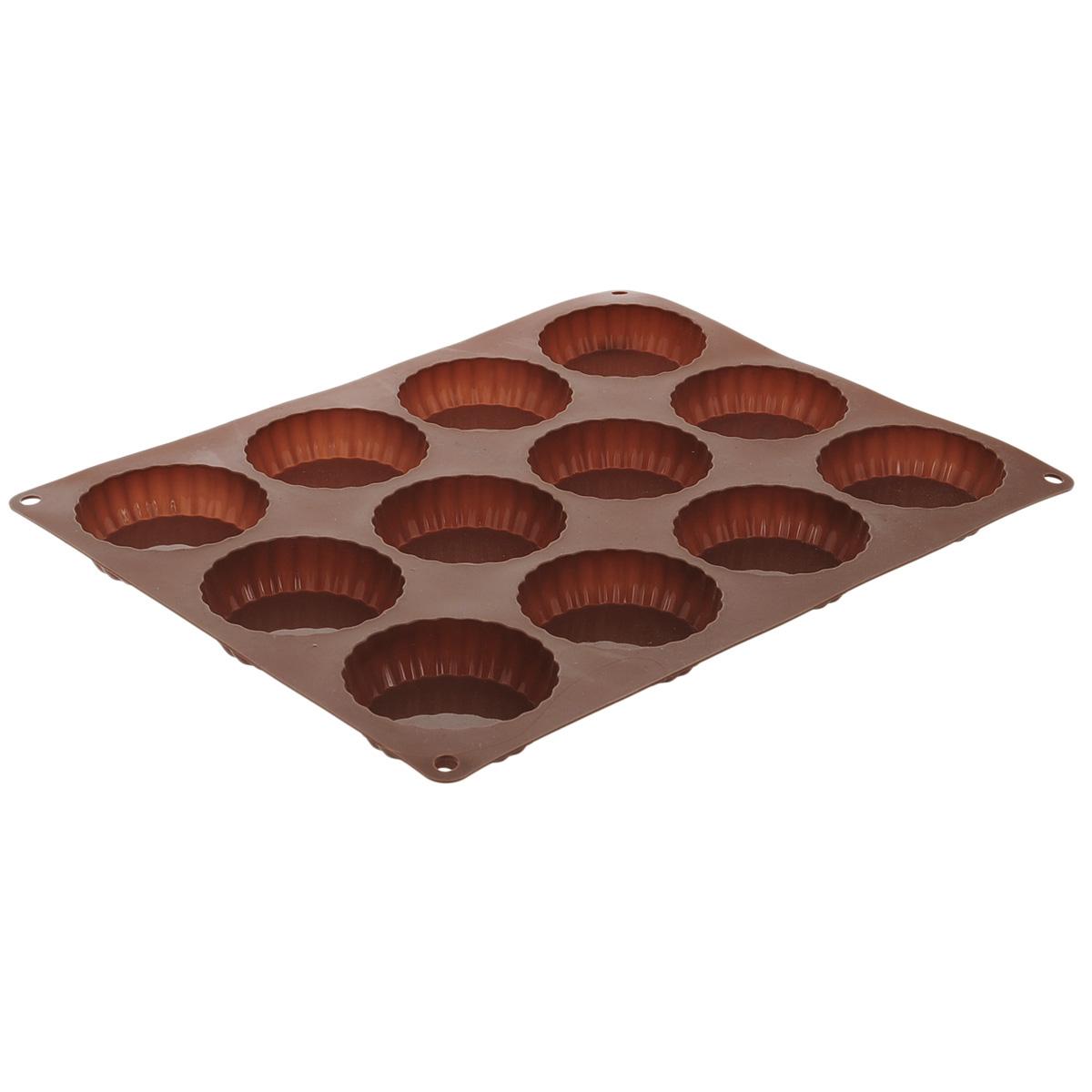 Форма для выпечки Taller Тарталетки, цвет: коричневый, 12 ячеекTR-6214Форма для выпечки Taller Тарталетки изготовлена из силикона - материала, который выдерживает температуру от -40°С до +230°С. Изделия из силикона очень удобны в использовании: пища в них не пригорает и не прилипает к стенкам, форма легко моется. Приготовленное блюдо можно очень просто вытащить, просто перевернув форму, при этом внешний вид блюда не нарушится. Изделие обладает эластичными свойствами: складывается без изломов, восстанавливает свою первоначальную форму. Форма содержит 12 ячеек для приготовления тарталеток. Порадуйте своих родных и близких любимой выпечкой в необычном исполнении. Подходит для приготовления в микроволновой печи и духовом шкафу при нагревании до +230°С; для замораживания до -40°С и чистки в посудомоечной машине. Размер формы: 34 см х 27 см.Диаметр ячейки: 7,5 см.Высота стенок: 2 см.Количество ячеек: 12 шт.