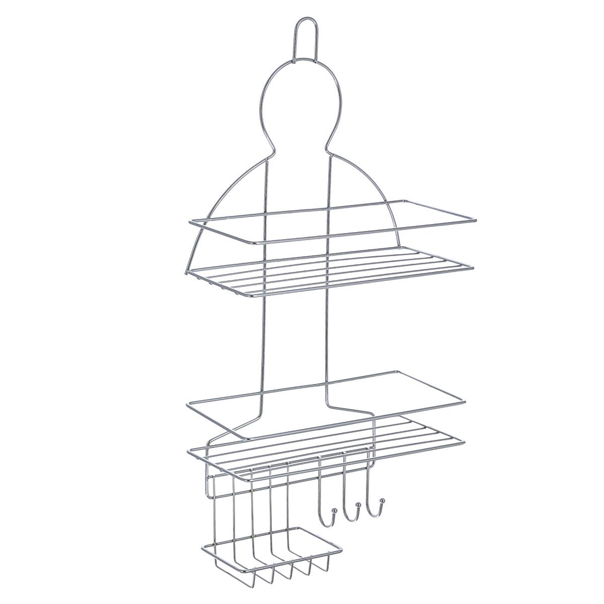 Полка навесная Home Queen, 23,7 см х 11,2 см х 49,8 см58561Удобная компактная полка Home Queen не требует специального монтажа, ее можно повесить на крючок или штангу в ванной. Универсальный дизайн подойдет для любого интерьера ванной комнаты. Выполнена из хромированной стали.