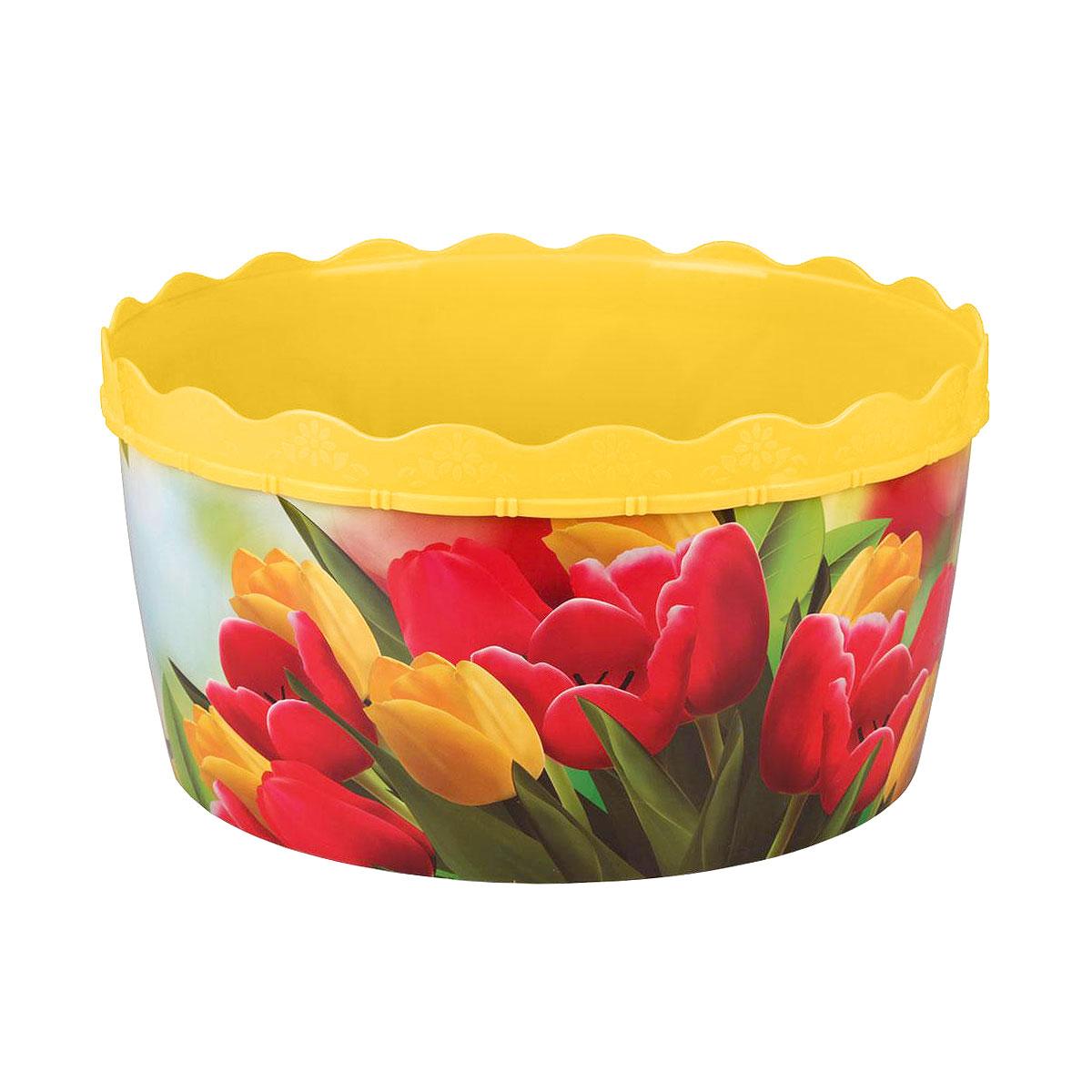 Таз Тюльпаны, цвет: желтый, 12 лМ3107Таз Тюльпаны станет незаменимым помощником в хозяйстве. Он выполнен из качественного пластика и прослужит долгие годы. Объем: 12 л.Диаметр (по верхнему краю): 35 см.Высота: 18 см.