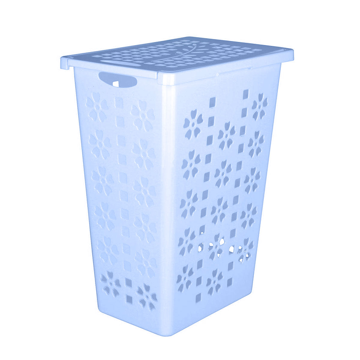Корзина для белья Альтернатива Виолетта, цвет: голубой, 30 лМ2444Легкая и удобная корзина Альтернатива Виолетта прямоугольной формы, изготовлена из пластика. Она отлично подойдет для хранения белья перед стиркой. Корзина, декорированная небольшими отверстиями в форме цветов и квадратиков, скрывает содержимое корзины от посторонних. Отверстия создают идеальные условия для проветривания. Изделие оснащено крышкой и отверстием для переноски корзины. Такая корзина для белья прекрасно впишется в интерьер ванной комнаты. Объем: 30 л. Размер корзины: 36,5 см х 25 см х 48 см.