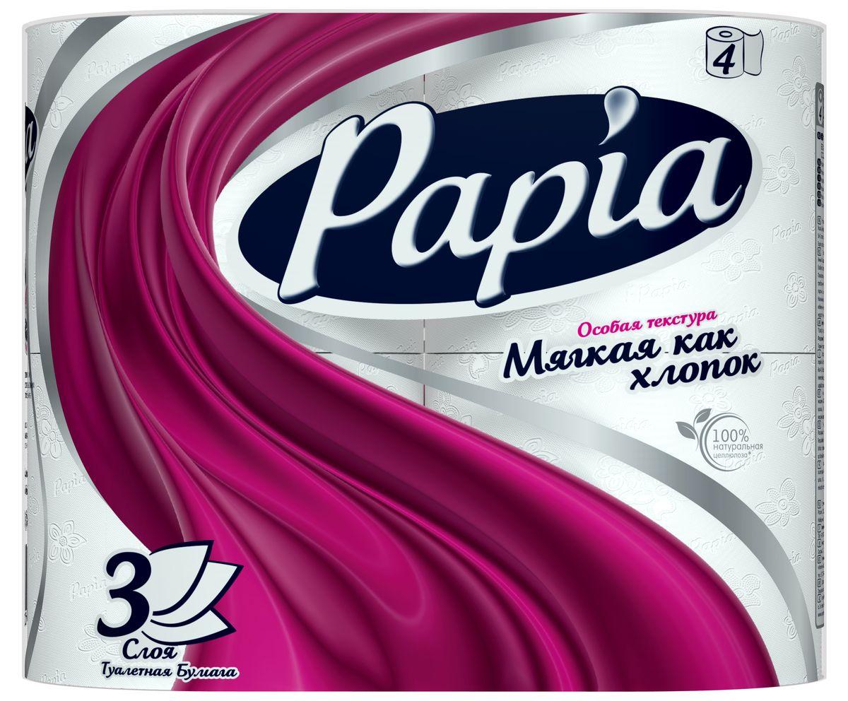 Туалетная бумага Papia, трехслойная, цвет: белый, 4 рулона15283Трехслойная туалетная бумага Papia изготовлена из целлюлозы высшего качества. Листы оформлены тисненым рисунком в виде цветов и надписи Papia. Мягкая, нежная, но в тоже время прочная, бумага не расслаивается и отрывается строго по линии перфорации. Бумага неароматизированная.Туалетная бумага Papia предназначена для тех, кто хочет, чтобы ванная была самая уютная на свете.Товар сертифицирован.Материал: 100% целлюлоза.Количество листов (в одном рулоне): 140 шт.Количество слоев: 3.Размер листа: 9,5 см х 12 см.Длина рулона: 16,8 м.