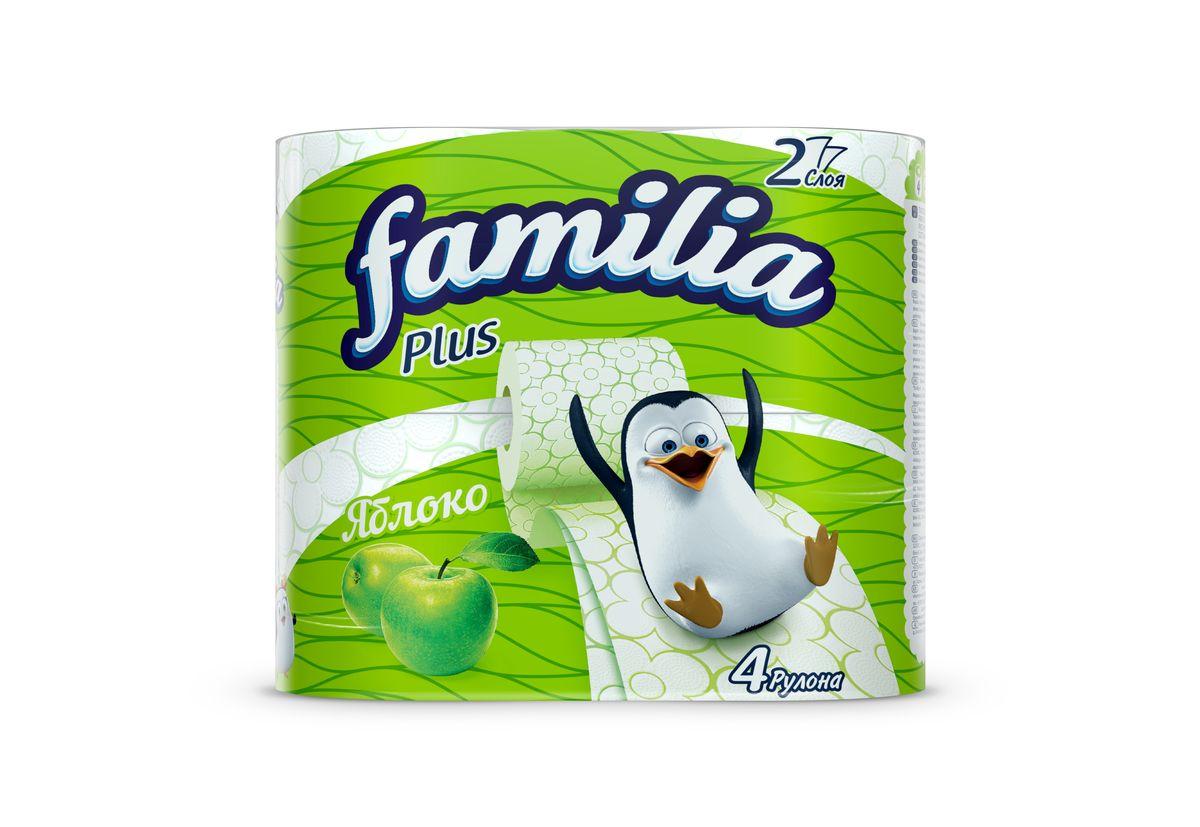 Туалетная бумага Familia Plus Яблоко ароматизированная, двухслойная, цвет: белый, 4 рулона бумага туалетная мягкий знак deluxe лимон ароматизированная двухслойная 4 рулона