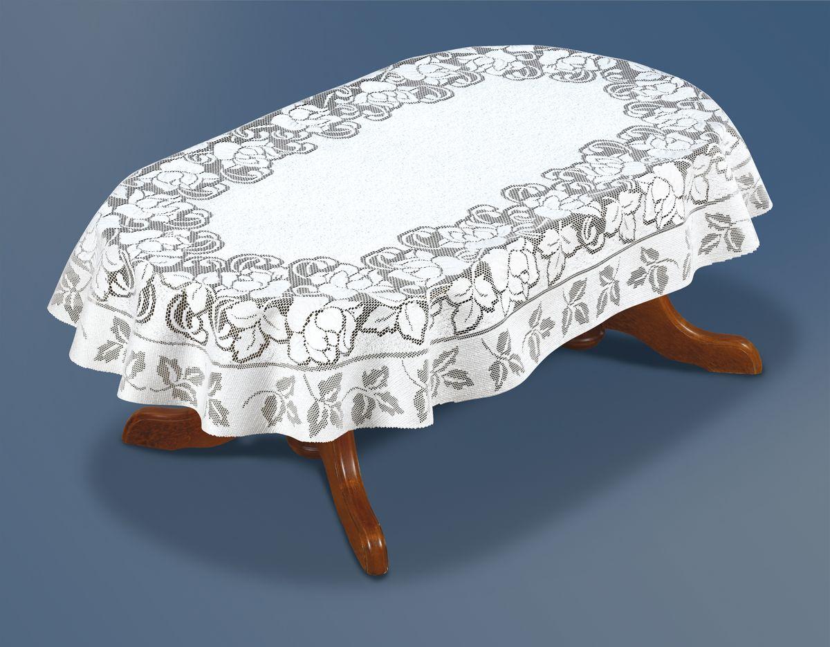 Скатерть Haft Silver Line, овальная, цвет: белый, 130 x 180 см. 221661/130
