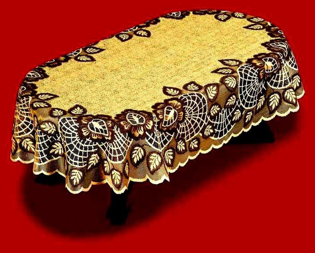 Скатерть Haft, овальная, цвет: кофейный, коричневый, 100x 150 см. 38701-10038701-100 корич.Великолепная овальная скатерть Haft, выполненная из полиэстера, органично впишется в интерьер любого помещения, а оригинальный дизайн удовлетворит даже самый изысканный вкус. Скатерть изготовлена из сетчатого материала с ажурным рисунком по краям. Края скатерти закруглены.Скатерть Haft создаст праздничное настроение и станет прекрасным дополнением интерьера гостиной, кухни или столовой.
