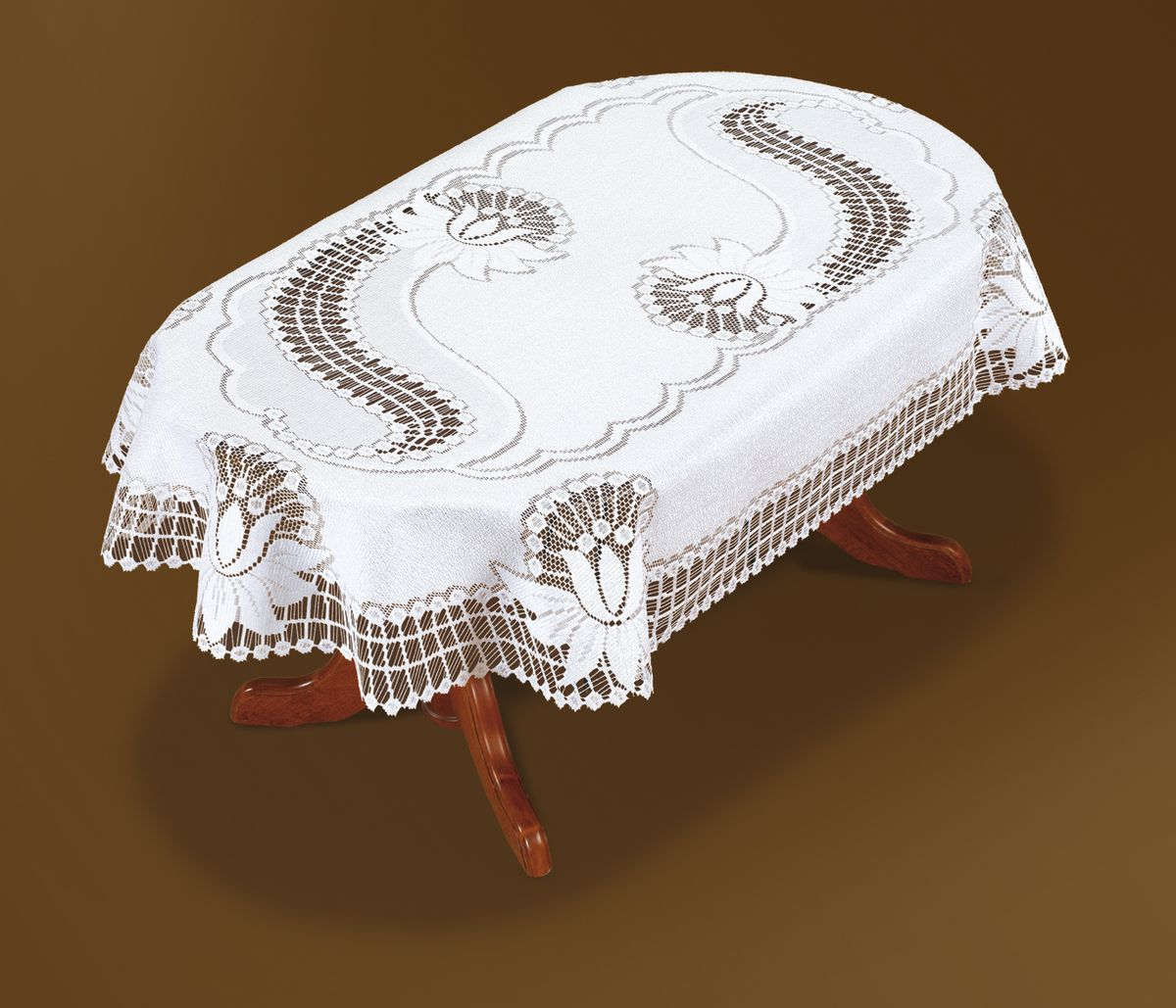 Скатерть Haft, овальная, цвет: белый, 150x 100 см. 46081-10046081-100Великолепная овальная скатерть Haft, выполненная из полиэстера, органично впишется в интерьер любого помещения, а оригинальный дизайн удовлетворит даже самый изысканный вкус. Скатерть изготовлена из сетчатого материала с ажурным рисунком. Края скатерти закруглены.Скатерть Haft создаст праздничное настроение и станет прекрасным дополнением интерьера гостиной, кухни или столовой.