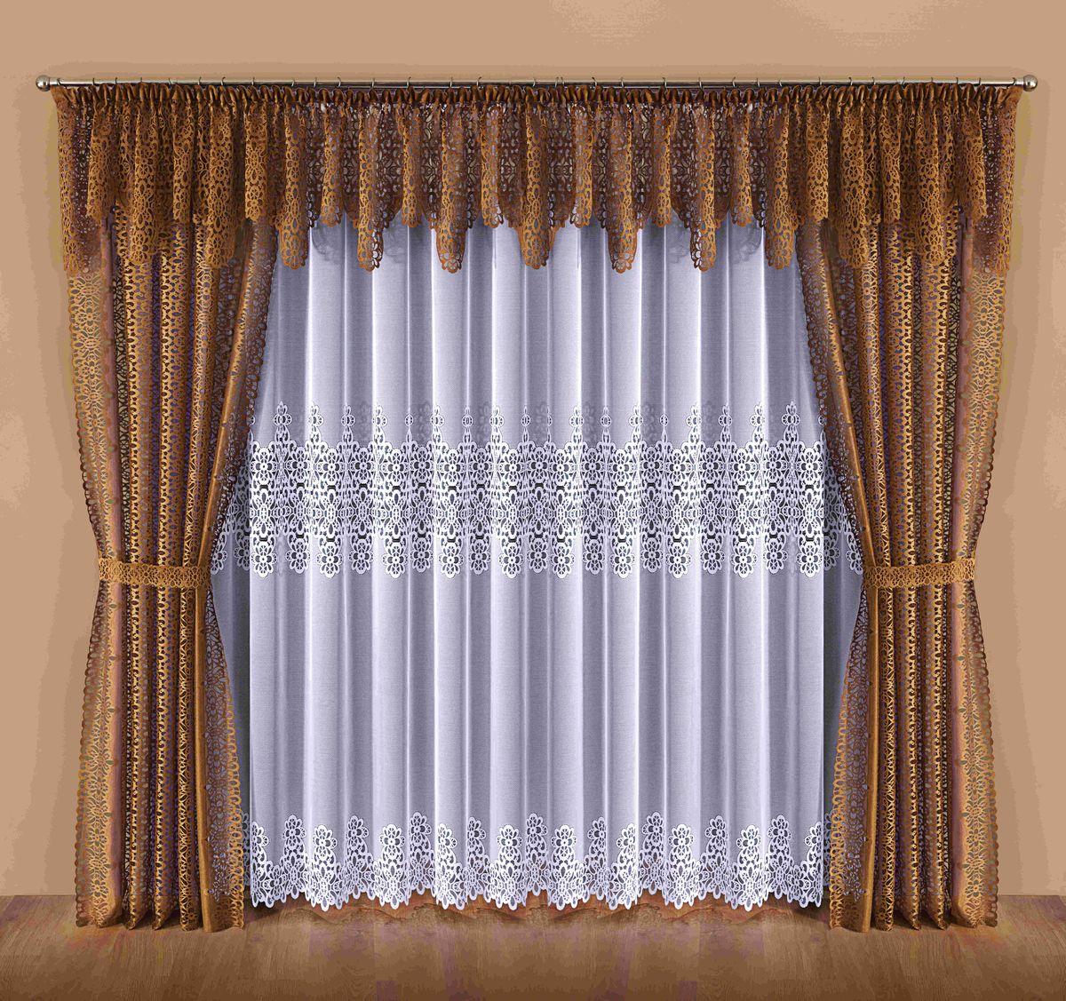 Комплект штор Wisan Dalia, на ленте, цвет: белый, коричневый, высота 250 см045WКомплект штор Wisan Dalia выполненный из полиэстера, великолепно украсит любое окно. В комплект входят 2 шторы, тюль, ламбрекен и 2 подхвата. Цветочный орнамент придает комплекту особый стиль и шарм. Тонкое плетение, нежная цветовая гамма и роскошное исполнение - все это делает шторы Wisan Dalia замечательным дополнением интерьера помещения.Комплект оснащен шторной лентой для красивой сборки. В комплект входит: Штора - 2 шт. Размер (ШхВ): 142 см х 250 см.Тюль - 1 шт. Размер (ШхВ): 400 см х 250 см. Ламбрекен - 1 шт. Размер (ШхВ): 600 см х 55 см. Подхват - 2 шт.Фирма Wisan на польском рынке существует уже более пятидесяти лет и является одной из лучших польских фабрик по производству штор и тканей. Ассортимент фирмы представлен готовыми комплектами штор для гостиной, детской, кухни, а также текстилем для кухни (скатерти, салфетки, дорожки, кухонные занавески). Модельный ряд отличает оригинальный дизайн, высокое качество. Ассортимент продукции постоянно пополняется.