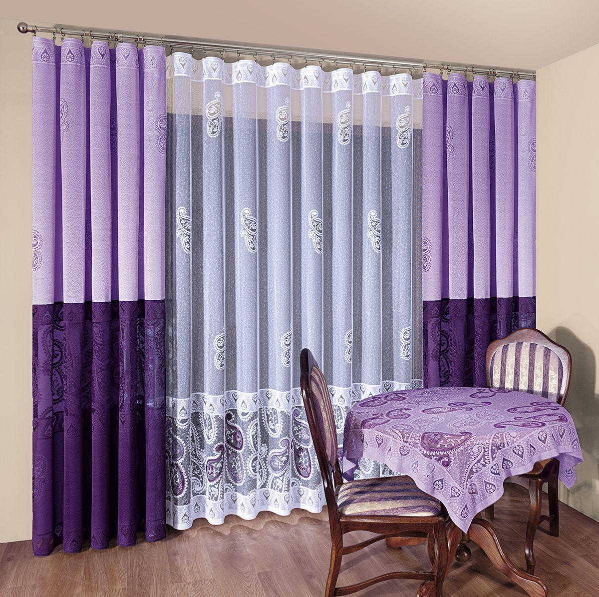 Комплект штор Wisan Fiona, на ленте, цвет: фиолетовый, белый, высота 250 см комплект штор wisan lara на ленте цвет оранжевый белый высота 250 см