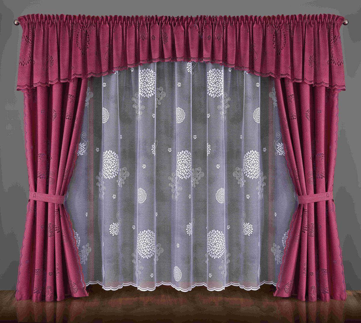 Комплект штор Wisan Wilena, на ленте, цвет: малиновый, белый, высота 250 см087WКомплект штор Wisan Wilena выполненный из полиэстера, великолепно украсит любое окно. Комплект состоит из 2 штор, тюля, ламбрекена и 2 подхватов. Кружевной цветочный узор придает комплекту особый стиль и шарм. Тонкое жаккардовое плетение, нежная цветовая гамма и роскошное исполнение - все это делает шторы Wisan Wilena замечательным дополнением интерьера помещения.Все предметы комплекта оснащены шторной лентой для красивой драпировки.В комплект входит: Штора - 2 шт. Размер (ШхВ): 140 см х 250 см. Тюль - 1 шт. Размер (ШхВ): 400 см х 250 см. Ламбрекен - 1 шт. Размер (ШхВ): 600 см х 65 см. Подхват - 2 шт.Фирма Wisan на польском рынке существует уже более пятидесяти лет и является одной из лучших польских фабрик по производству штор и тканей. Ассортимент фирмы представлен готовыми комплектами штор для гостиной, детской, кухни, а также текстилем для кухни (скатерти, салфетки, дорожки, кухонные занавески). Модельный ряд отличает оригинальный дизайн, высокое качество. Ассортимент продукции постоянно пополняется.