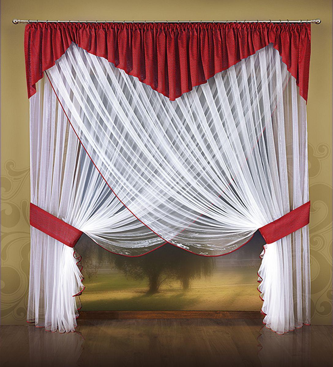 Комплект штор Wisan Nina, на ленте, цвет: белый, красный, высота 250088WКомплект штор Wisan Nina, выполненный из полиэстера, великолепно украсит любое окно. В комплект входят тюль, ламбрекен и 2 подхвата. Интересный крой придает комплекту особый стиль и шарм. Тонкое плетение, нежная цветовая гамма и роскошное исполнение - все это делает шторы Wisan Nina замечательным дополнением интерьера помещения.Комплект оснащен шторной лентой для красивой сборки. В комплект входит: Тюль - 2 шт. Размер (ШхВ): 500 см х 250 см. Ламбрекен - 1 шь. Размер (ШхВ): 500 см х 65 см. Подхват - 2 шт.Фирма Wisan на польском рынке существует уже более пятидесяти лет и является одной из лучших польских фабрик по производству штор и тканей. Ассортимент фирмы представлен готовыми комплектами штор для гостиной, детской, кухни, а также текстилем для кухни (скатерти, салфетки, дорожки, кухонные занавески). Модельный ряд отличает оригинальный дизайн, высокое качество. Ассортимент продукции постоянно пополняется.