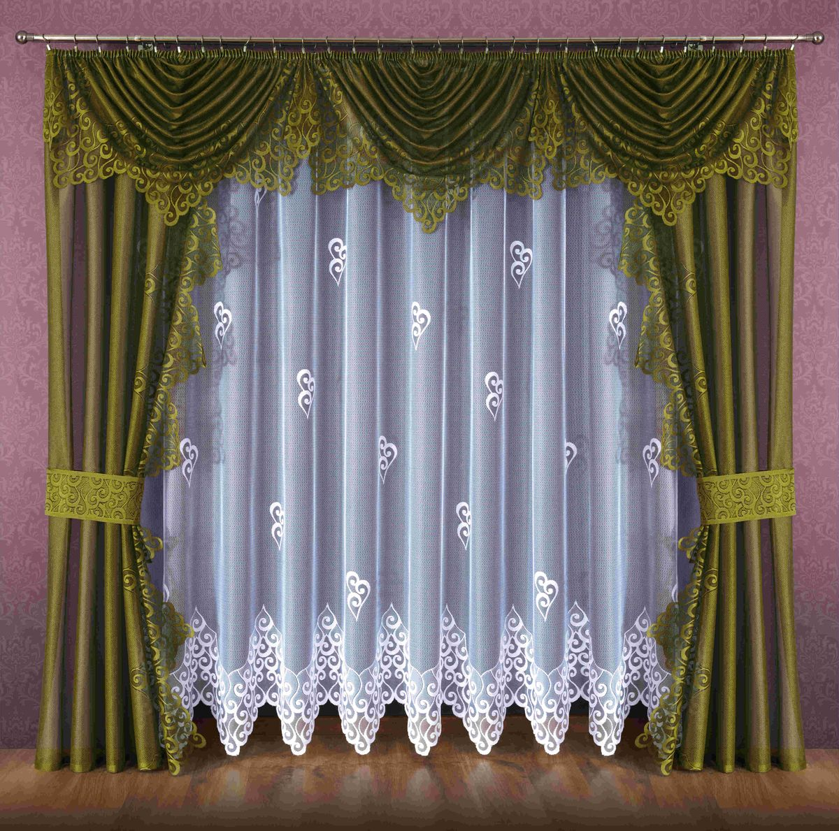 Комплект штор Wisan Ludmila, на ленте, цвет: белый, оливковый, высота 250 см089WКомплект штор Wisan Ludmila выполненный из полиэстера, великолепно украсит любое окно. В комплект входят 2 шторы, тюль, ламбрекен и 2 подхвата. Кружевной орнамент придает комплекту особый стиль и шарм. Тонкое плетение, нежная цветовая гамма и роскошное исполнение - все это делает шторы Wisan Ludmila замечательным дополнением интерьера помещения.Комплект оснащен шторной лентой для красивой сборки. В комплект входит: Штора - 2 шт. Размер (ШхВ): 140 см х 250 см.Тюль - 1 шт. Размер (ШхВ): 400 см х 250 см. Ламбрекен - 1 шт. Размер (ШхВ): 440 см х 135 см. Подхват - 2 шт.Фирма Wisan на польском рынке существует уже более пятидесяти лет и является одной из лучших польских фабрик по производству штор и тканей. Ассортимент фирмы представлен готовыми комплектами штор для гостиной, детской, кухни, а также текстилем для кухни (скатерти, салфетки, дорожки, кухонные занавески). Модельный ряд отличает оригинальный дизайн, высокое качество. Ассортимент продукции постоянно пополняется.