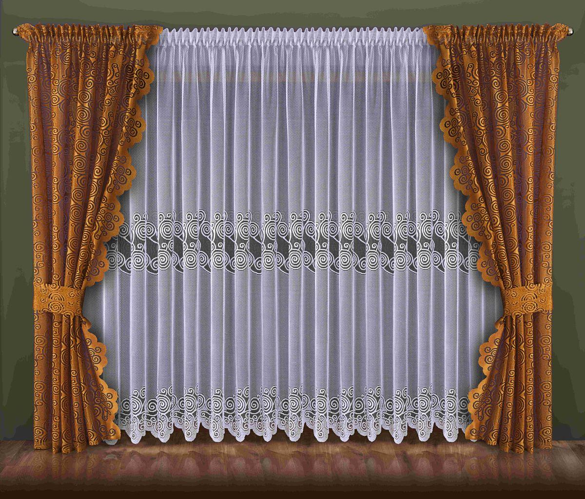 Комплект штор Wisan Waleriana, на ленте, цвет: белый, коричневый, высота 250 см092WКомплект штор Wisan Waleriana, выполненный из полиэстера, великолепно украсит любое окно. Тонкое плетение, оригинальный дизайн привлекут к себе внимание и органично впишутся в интерьер. В комплект входят 2 шторы, тюль и 2 подхвата. Кружевной узор придает комплекту особый стиль и шарм. Тонкое плетение, нежная цветовая гамма и роскошное исполнение - все это делает шторы Wisan Waleriana замечательным дополнением интерьера помещения. Шторы оснащены шторной лентой для красивой сборки. В комплект входит: Штора - 2 шт. Размер (ШхВ): 140 см х 250 см. Тюль - 1 шт. Размер (ШхВ): 400 см х 250 см. Подхват - 2 шт.Фирма Wisan на польском рынке существует уже более пятидесяти лет и является одной из лучших польских фабрик по производству штор и тканей. Ассортимент фирмы представлен готовыми комплектами штор для гостиной, детской, кухни, а также текстилем для кухни (скатерти, салфетки, дорожки, кухонные занавески). Модельный ряд отличает оригинальный дизайн, высокое качество. Ассортимент продукции постоянно пополняется.