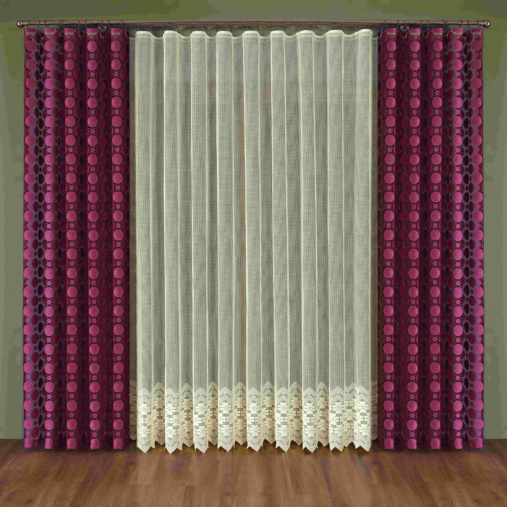 Комплект штор Wisan Maura, на ленте, цвет: бордовый, бежевый, высота 250 смW347Комплект штор Wisan Maura выполненный из полиэстера, великолепно украсит любое окно. Тонкое плетение, оригинальный дизайн привлекут к себе внимание и органично впишутся в интерьер. В комплект входят 2 шторы и тюль. Кружевной узор придает комплекту особый стиль и шарм. Тонкое жаккардовое плетение, нежная цветовая гамма и роскошное исполнение - все это делает шторы Wisan Maura замечательным дополнением интерьера помещения. Комплект оснащен шторной лентой для красивой сборки. В комплект входит: Штора - 2 шт. Размер (ШхВ): 150 см х 250 см. Тюль - 1 шт. Размер (ШхВ): 350 см х 250 см.Фирма Wisan на польском рынке существует уже более пятидесяти лет и является одной из лучших польских фабрик по производству штор и тканей. Ассортимент фирмы представлен готовыми комплектами штор для гостиной, детской, кухни, а также текстилем для кухни (скатерти, салфетки, дорожки, кухонные занавески). Модельный ряд отличает оригинальный дизайн, высокое качество. Ассортимент продукции постоянно пополняется.