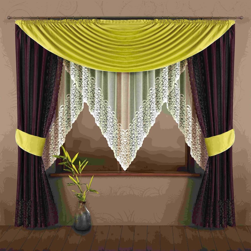 Комплект штор для кухни Wisan Nastia, на ленте, цвет: коричневый, зеленый, высота 245 см