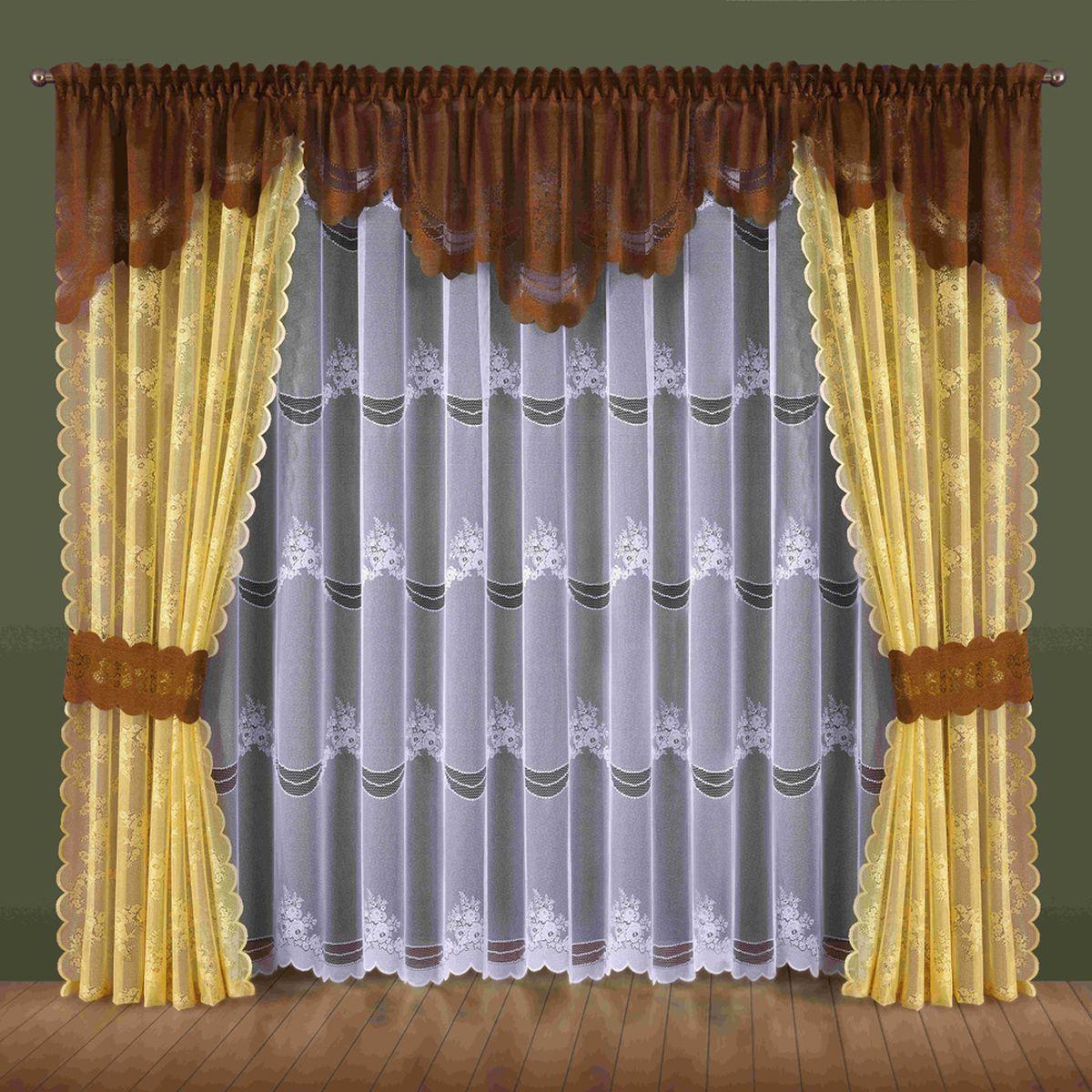 Комплект штор Wisan Nadzieja, на ленте, цвет: желтый, коричневый, высота 250 см184WКомплект штор Wisan Nadzieja выполненный из полиэстера, великолепно украсит любое окно. В комплект входят 2 шторы, тюль, ламбрекен и 2 подхвата. Интересный крой и нежный узор придают комплекту особый стиль и шарм. Тонкое плетение, нежная цветовая гамма и роскошное исполнение - все это делает шторы Wisan Nadzieja замечательным дополнением интерьера помещения.Комплект оснащен шторной лентой для красивой сборки. В комплект входит: Штора - 2 шт. Размер (ШхВ): 145 см х 250 см. Тюль - 1 шт. Размер (ШхВ): 400 см х 250 см. Ламбрекен - 1 шт. Размер (ШхВ): 440 см х 70 см. Подхват - 2 шт.Фирма Wisan на польском рынке существует уже более пятидесяти лет и является одной из лучших польских фабрик по производству штор и тканей. Ассортимент фирмы представлен готовыми комплектами штор для гостиной, детской, кухни, а также текстилем для кухни (скатерти, салфетки, дорожки, кухонные занавески). Модельный ряд отличает оригинальный дизайн, высокое качество. Ассортимент продукции постоянно пополняется.