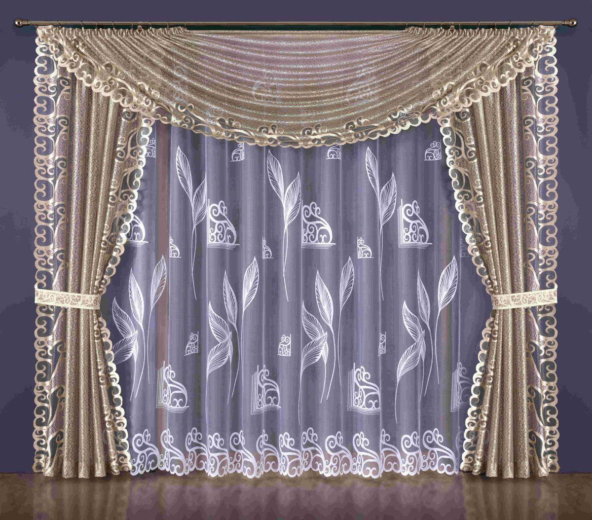 Комплект штор Wisan Katiusza, на ленте, цвет: белый, бежевый, высота 250 см185WКомплект штор Wisan Katiusza выполненный из полиэстера, великолепно украсит любое окно. В комплект входят 2 шторы, тюль, ламбрекен и 2 подхвата. Цветочный орнамент придает комплекту особый стиль и шарм. Тонкое плетение, нежная цветовая гамма и роскошное исполнение - все это делает шторы Wisan Katiusza замечательным дополнением интерьера помещения.Комплект оснащен шторной лентой для красивой сборки. В комплект входит: Штора - 2 шт. Размер (ШхВ): 145 см х 250 см.Тюль - 1 шт. Размер (ШхВ): 400 см х 250 см. Ламбрекен - 1 шт. Размер (ШхВ): 350 см х 135 см. Подхват - 2 шт.Фирма Wisan на польском рынке существует уже более пятидесяти лет и является одной из лучших польских фабрик по производству штор и тканей. Ассортимент фирмы представлен готовыми комплектами штор для гостиной, детской, кухни, а также текстилем для кухни (скатерти, салфетки, дорожки, кухонные занавески). Модельный ряд отличает оригинальный дизайн, высокое качество. Ассортимент продукции постоянно пополняется.