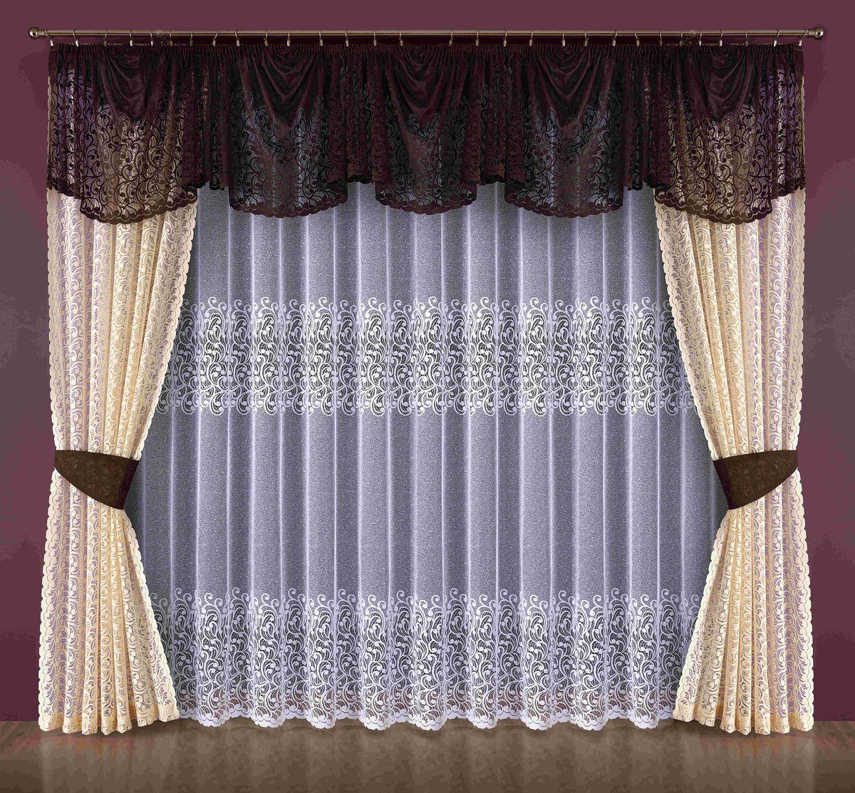 Комплект штор Wisan Nadia, на ленте, цвет: коричневый, кремовый, высота 250 см186WКомплект штор Wisan Nadia выполненный из полиэстера, великолепно украсит любое окно. Тонкое плетение, оригинальный дизайн привлекут к себе внимание и органично впишутся в интерьер. Комплект состоит из 2 штор, тюля, ламбрекена и 2 подхватов. Кружевной узор придает комплекту особый стиль и шарм. Тонкое жаккардовое плетение, нежная цветовая гамма и роскошное исполнение - все это делает шторы Wisan Nadia замечательным дополнением интерьера помещения. Все предметы комплекта оснащены шторной лентой для красивой драпировки. В комплект входит: Штора - 2 шт. Размер (ШхВ): 145 см х 250 см. Тюль - 1 шт. Размер (ШхВ): 400 см х 250 см. Ламбрекен - 1 шт. Размер (ШхВ): 700 см х 85 см.Подхваты - 2 шт. Фирма Wisan на польском рынке существует уже более пятидесяти лет и является одной из лучших польских фабрик по производству штор и тканей. Ассортимент фирмы представлен готовыми комплектами штор для гостиной, детской, кухни, а также текстилем для кухни (скатерти, салфетки, дорожки, кухонные занавески). Модельный ряд отличает оригинальный дизайн, высокое качество. Ассортимент продукции постоянно пополняется.