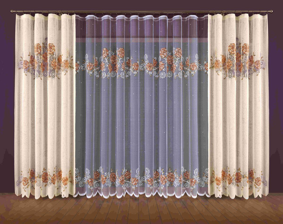 Комплект штор Wisan Mirella, на ленте, цвет: бежевый, белый, высота 250 см комплект штор для кухни wisan на ленте цвет белый черный высота 250 см 3384