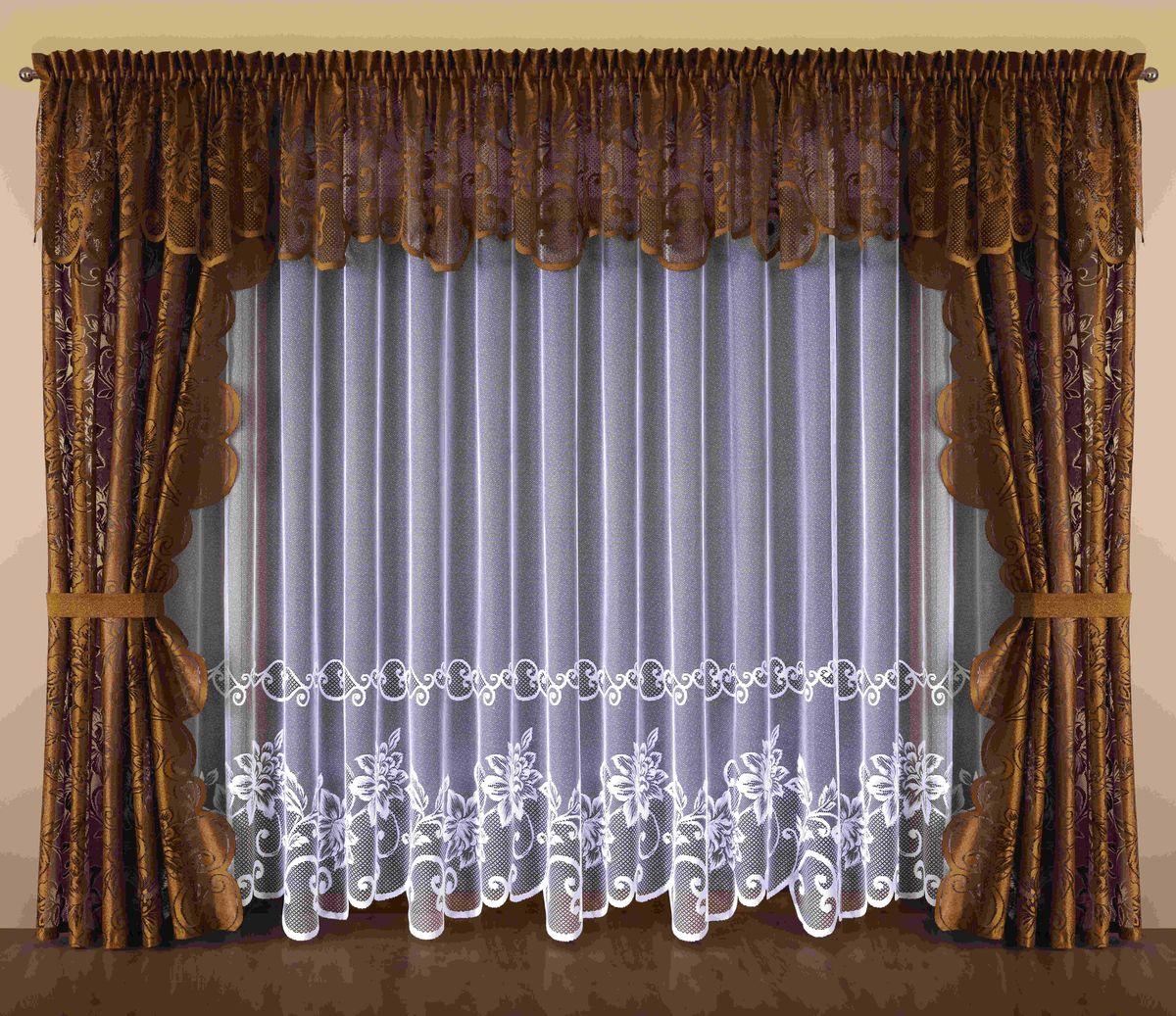 Комплект штор Wisan Kalista, на ленте, цвет: белый, коричневый, высота 250 см193WКомплект штор Wisan Kalista выполненный из полиэстера, великолепно украсит любое окно. В комплект входят 2 шторы, тюль, ламбрекен и 2 подхвата.Интересный крой и цветочный узор придают комплекту особый стиль и шарм. Тонкое плетение, нежная цветовая гамма и роскошное исполнение - все это делает шторы Wisan Kalista замечательным дополнением интерьера помещения.Комплект оснащен шторной лентой для красивой сборки. В комплект входит: Штора - 2 шт. Размер (ШхВ): 145 см х 250 см. Тюль - 1 шт. Размер (ШхВ): 500 см х 250 см. Ламбрекен - 1 шт. Размер (ШхВ): 500 см х 70 см. Подхват - 2 шт.Фирма Wisan на польском рынке существует уже более пятидесяти лет и является одной из лучших польских фабрик по производству штор и тканей. Ассортимент фирмы представлен готовыми комплектами штор для гостиной, детской, кухни, а также текстилем для кухни (скатерти, салфетки, дорожки, кухонные занавески). Модельный ряд отличает оригинальный дизайн, высокое качество. Ассортимент продукции постоянно пополняется.