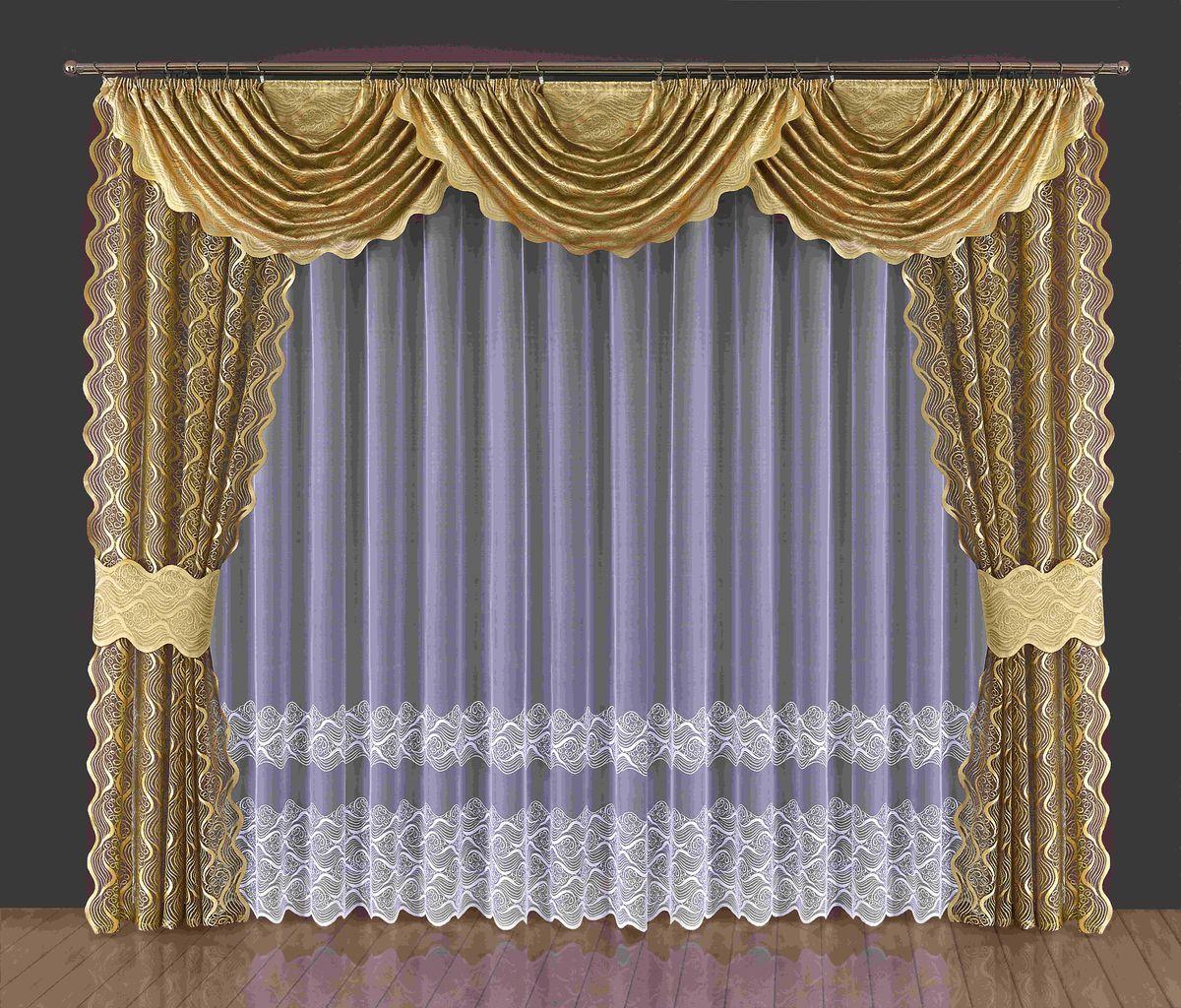 Комплект штор Wisan Domna, на ленте, цвет: золотистый, белый, высота 250 см комплект штор wisan lara на ленте цвет оранжевый белый высота 250 см