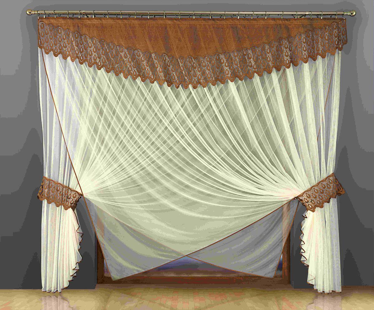 Комплект штор Wisan Eugenia, на ленте, цвет: кремовый, коричневый, высота 250200WКомплект штор Wisan Eugenia выполненный из полиэстера, великолепно украсит любое окно. В комплект входят 2 шторы, ламбрекен и 2 подхвата.Оригинальный и яркий дизайн придают комплекту особый стиль и шарм. Тонкое плетение, нежная цветовая гамма и роскошное исполнение - все это делает шторы Wisan Eugenia замечательным дополнением интерьера помещения. Комплект оснащен шторной лентой для красивой сборки. В комплект входит: Штора - 2 шт. Размер (ШхВ): 500 см х 250 см. Ламбрекен - 1 шт. Размер (ШхВ): 300 см х 60 см. Подхват - 2 шт.Фирма Wisan на польском рынке существует уже более пятидесяти лет и является одной из лучших польских фабрик по производству штор и тканей. Ассортимент фирмы представлен готовыми комплектами штор для гостиной, детской, кухни, а также текстилем для кухни (скатерти, салфетки, дорожки, кухонные занавески). Модельный ряд отличает оригинальный дизайн, высокое качество. Ассортимент продукции постоянно пополняется.
