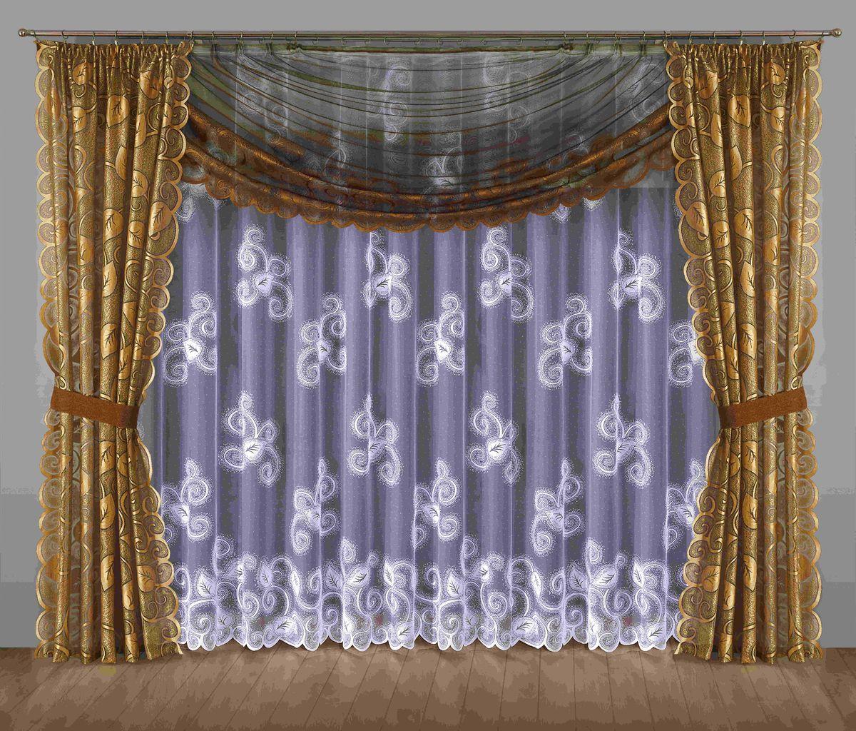 Комплект штор Wisan Ulryka, на ленте, цвет: коричневый, золотой, высота 250 см201WКомплект штор Wisan Ulryka выполненный из полиэстера, великолепно украсит любое окно. В комплект входят 2 шторы, тюль, ламбрекен и 2 подхвата.Интересный крой, и цветочный узор придают комплекту особый стиль и шарм. Тонкое плетение, нежная цветовая гамма и роскошное исполнение - все это делает шторы Wisan Ulryka замечательным дополнением интерьера помещения.Комплект оснащен шторной лентой для красивой сборки. В комплект входит: Штора - 2 шт. Размер (ШхВ): 145 см х 250 см. Тюль - 1 шт. Размер (ШхВ): 400 см х 250 см. Ламбрекен - 1 шт. Размер (ШхВ): 350 см х 145 см. Подхват - 2 шт.Фирма Wisan на польском рынке существует уже более пятидесяти лет и является одной из лучших польских фабрик по производству штор и тканей. Ассортимент фирмы представлен готовыми комплектами штор для гостиной, детской, кухни, а также текстилем для кухни (скатерти, салфетки, дорожки, кухонные занавески). Модельный ряд отличает оригинальный дизайн, высокое качество. Ассортимент продукции постоянно пополняется.