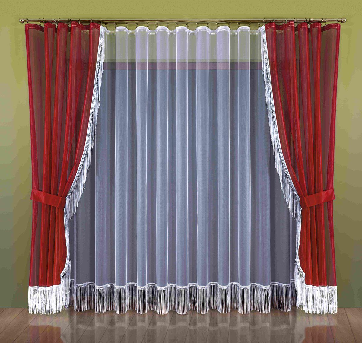 Комплект штор Wisan Hana, на ленте, цвет: белый, бордо, высота 250 см263WКомплект штор Wisan Hana, выполненный из полиэстера, великолепно украсит окно в гостиной или спальне. В комплект входят 2 шторы, тюль и 2 подхвата. Бахрома придает комплекту особый стиль и шарм. Тонкое плетение, нежная цветовая гамма и роскошное исполнение - все это делает шторы Wisan Hana замечательным дополнением интерьера помещения. Шторы оснащены шторной лентой для красивой сборки, а также двумя подхватами. В комплект входит: Штора - 2 шт. Размер (ШхВ): 150 см х 250 см. Тюль - 1 шт. Размер (ШхВ): 300 см х 250 см. Подхват - 2 шт.