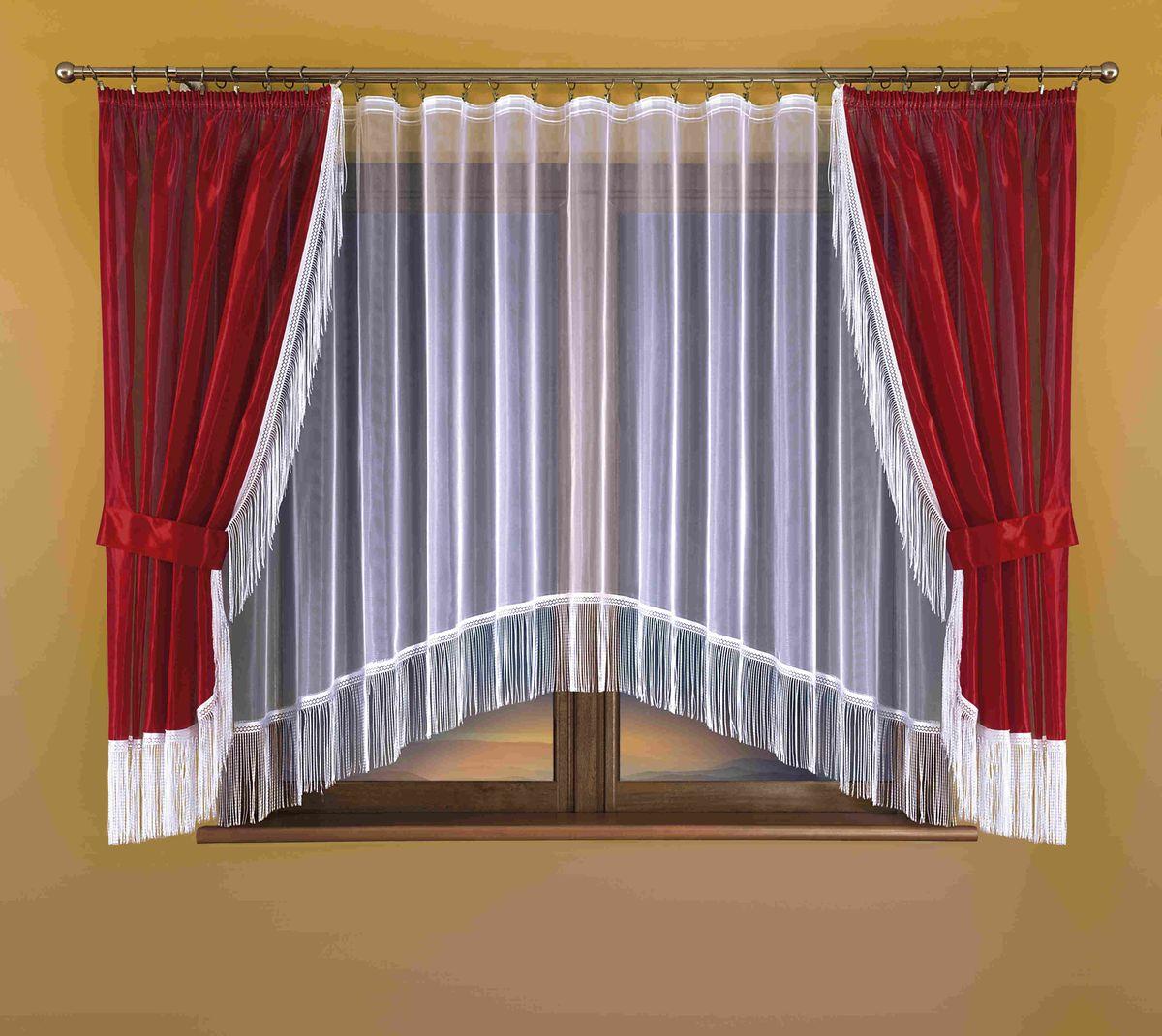 Комплект штор для кухни Wisan Hana, на ленте, цвет: белый, бордо, высота 170 см комплект штор для кухни wisan на ленте цвет белый черный высота 250 см 3384