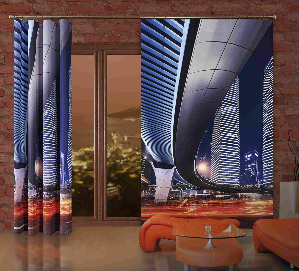 Комплект гардин-панно Wisan Miasto, на ленте, цвет: синий, высота 250 см
