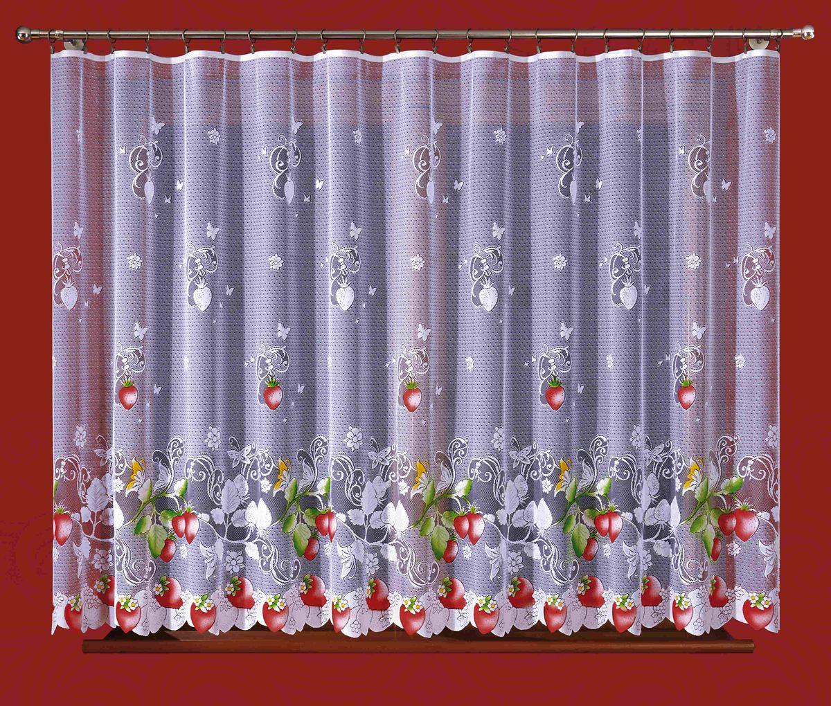 Гардина Wisan Клубника, цвет: белый, зеленый, красный, высота 150 см270ЕВоздушная гардина Wisan Клубника, изготовленная из полиэстера, станет великолепным украшением любого окна. Оригинальный принт в виде клубничек и приятная цветовая гамма привлекут к себе внимание и органично впишутся в интерьер комнаты. Оригинальное оформление гардины внесет разнообразие и подарит заряд положительного настроения.Верхняя часть гардины не оснащена креплениями.