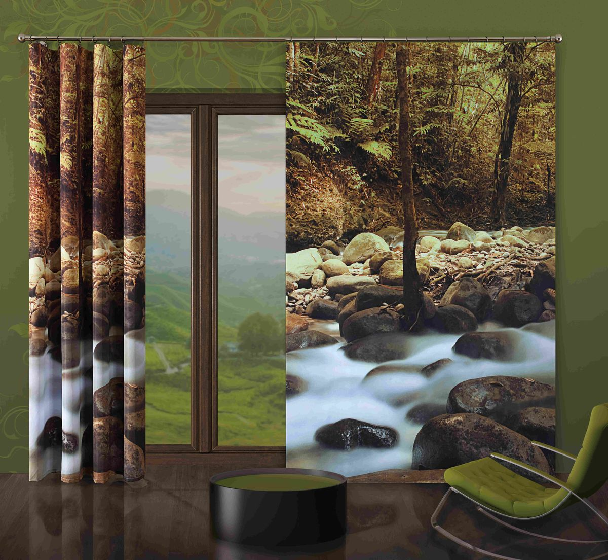 Комплект гардин-панно Wisan Kamienie, на ленте, цвет: коричневый, серый, высота 250 см